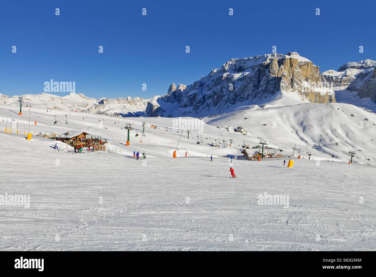 Italian Dolomites in Winter from Val di Fassa Ski Area, Trentino-Alto-Adige region, Italy Stock Photo