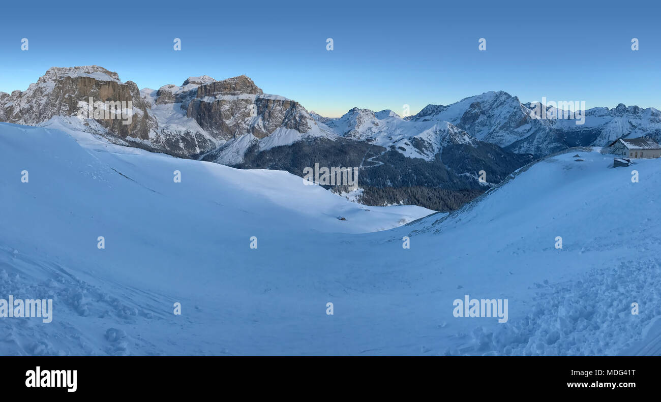 Italian Dolomites in Winter from Val di Fassa Ski Area, Trentino-Alto-Adige region, Italy Stock Photo