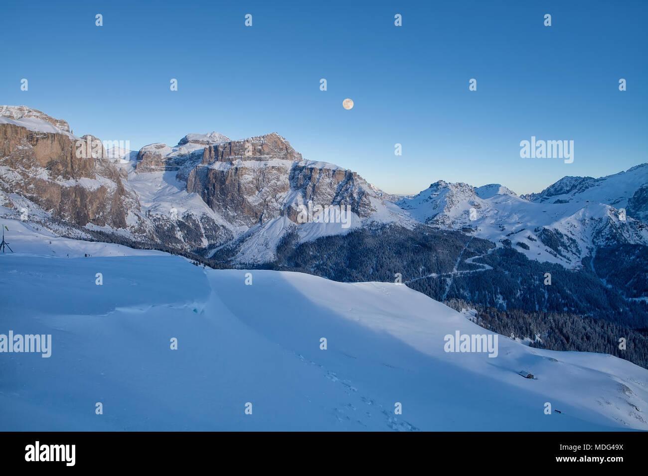 Panoramic view of the Val Di Fassa ski resort in Italy, Dolomites, Trentino-Alto-Adige region, Italy - Stock Image