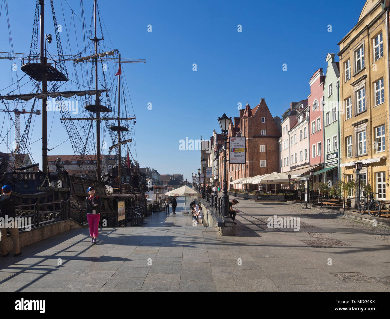 Historic vessel rebuilt for sightseeing tours on the river Motlawa and along the Baltic coast, harbour in the old town, Gdansk Poland Stock Photo