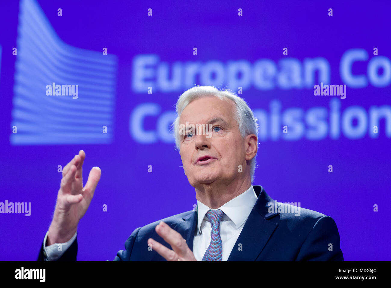 Belgium, Brussels, European commission on 2016/12/05. Michel Garnier attending is first press conference as the EU's chief negotiator for Brexit - Stock Image