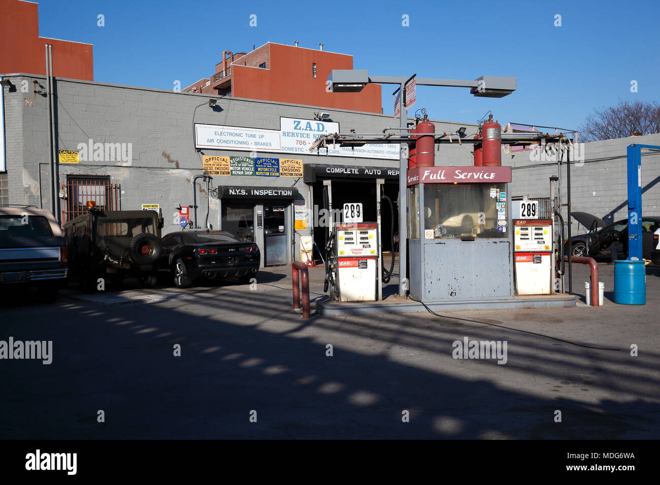Antique fuel pumps at old gasstation in New York City - Stock Image