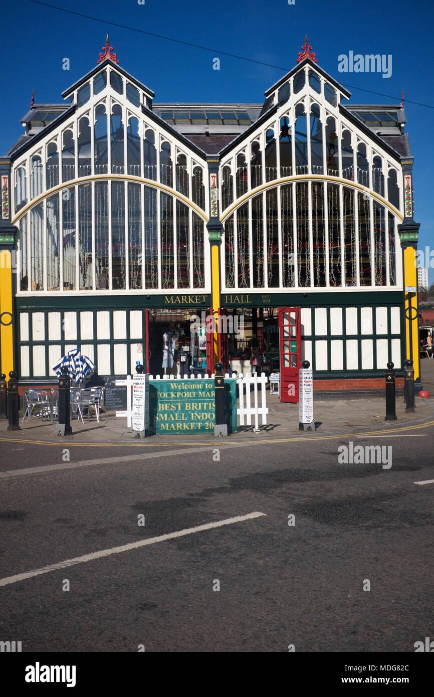 The indoor market hall in Stockport. - Stock Image