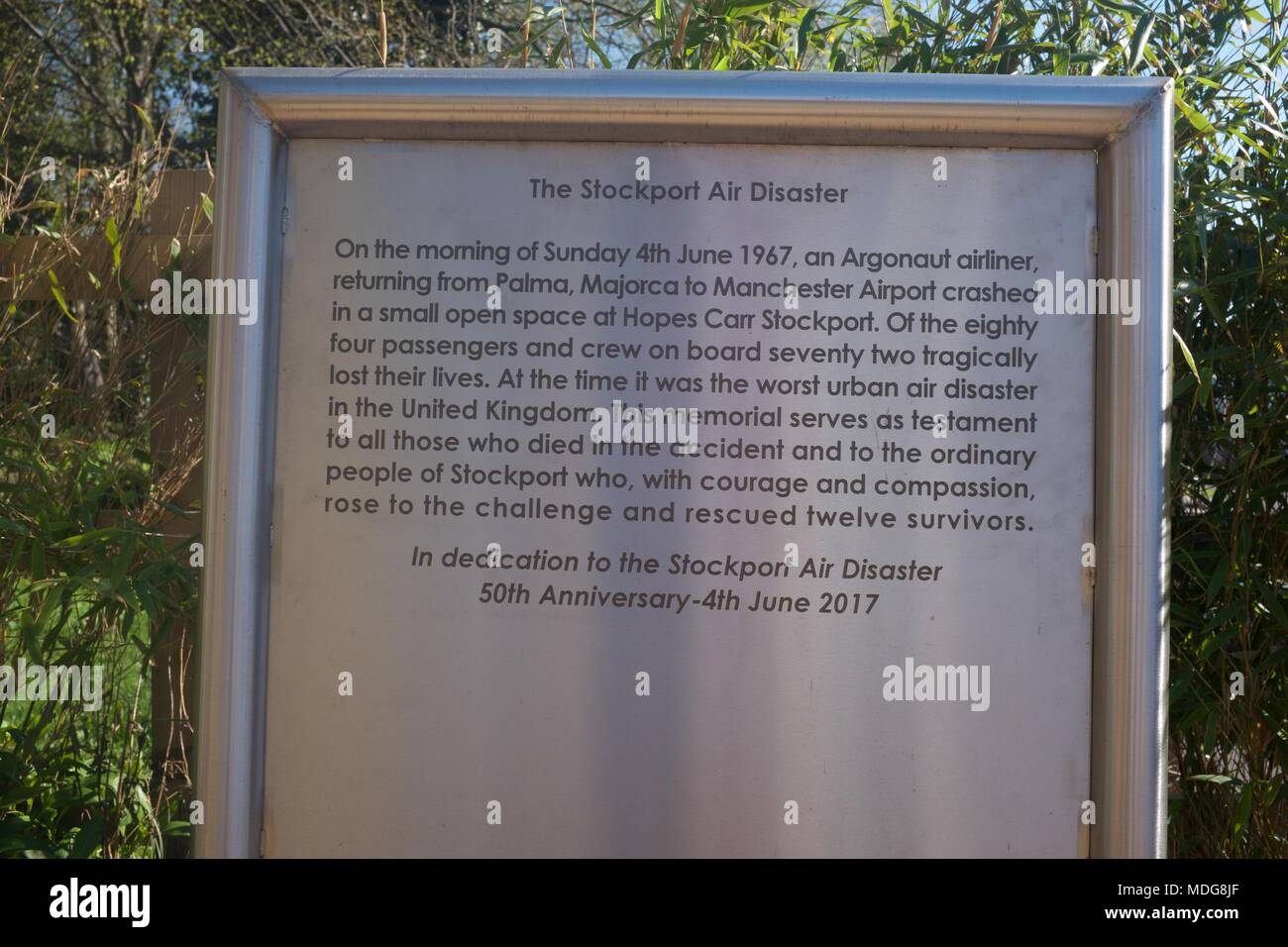 A memorial to the Stockport Air Disaster 1967 - Stock Image