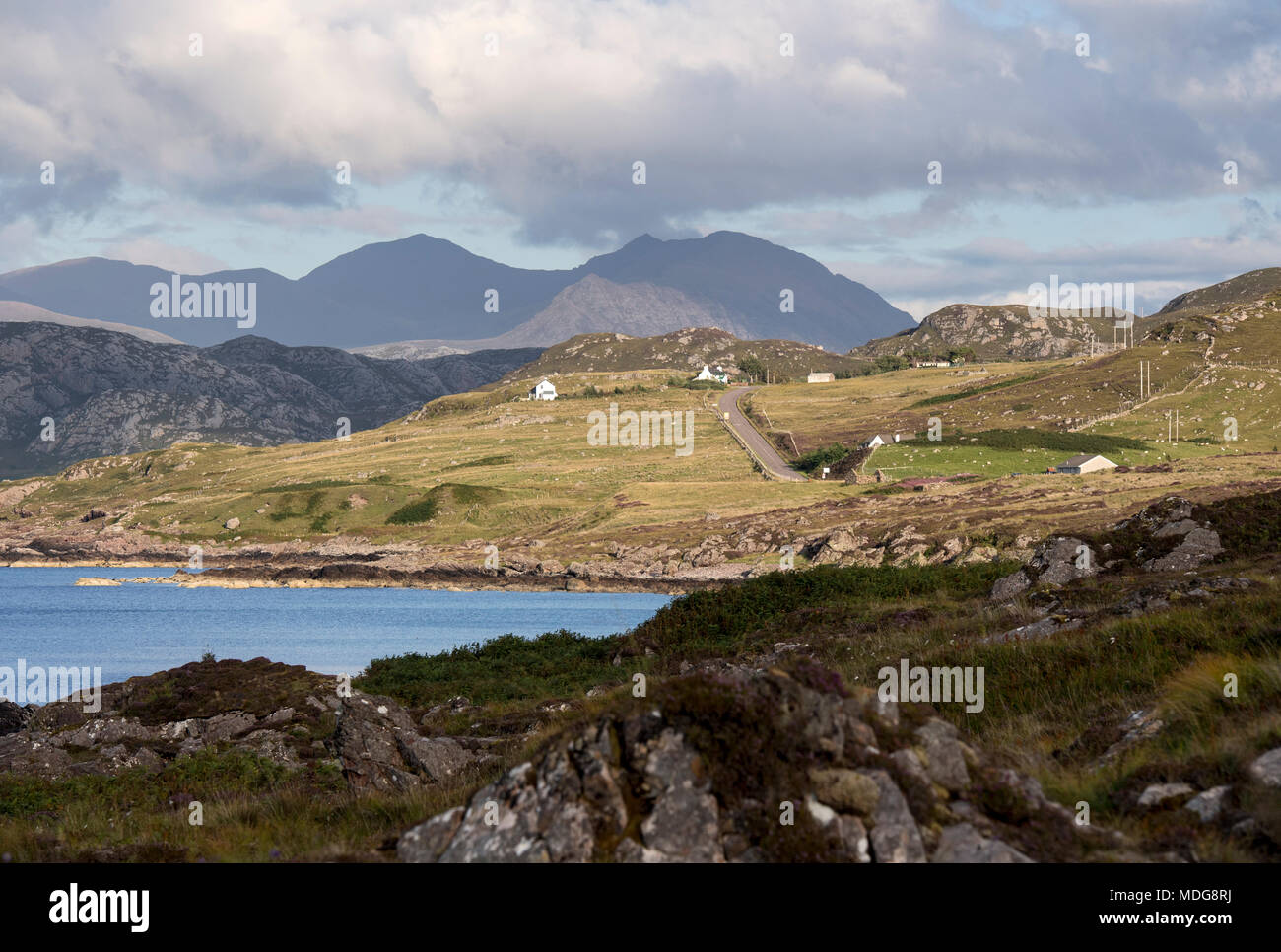 Section of the North Coast 500 scenic route near Laide in Wester Ross, Scotland, UK - Stock Image