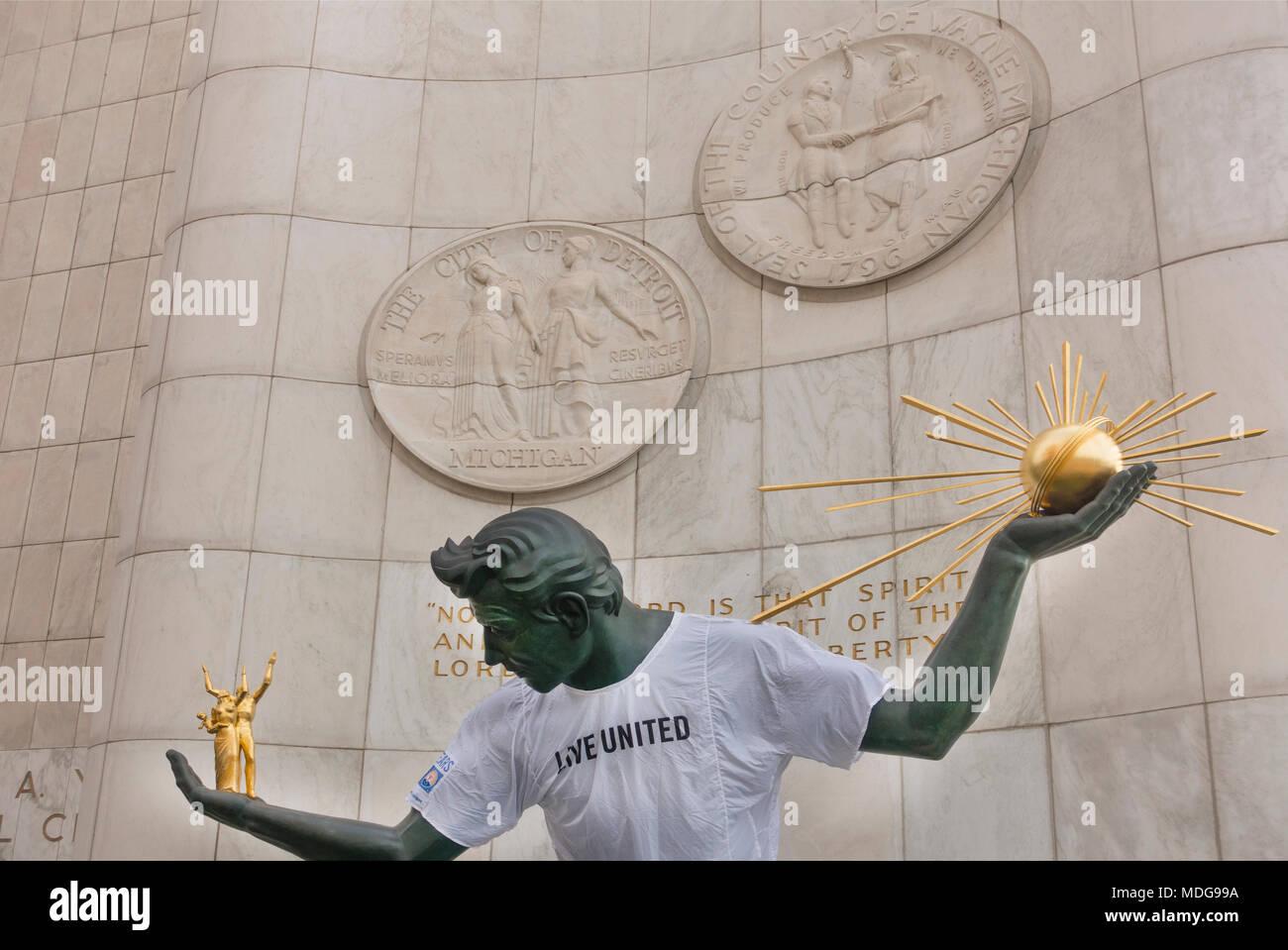 The Spirit of Detroit Michigan - Stock Image