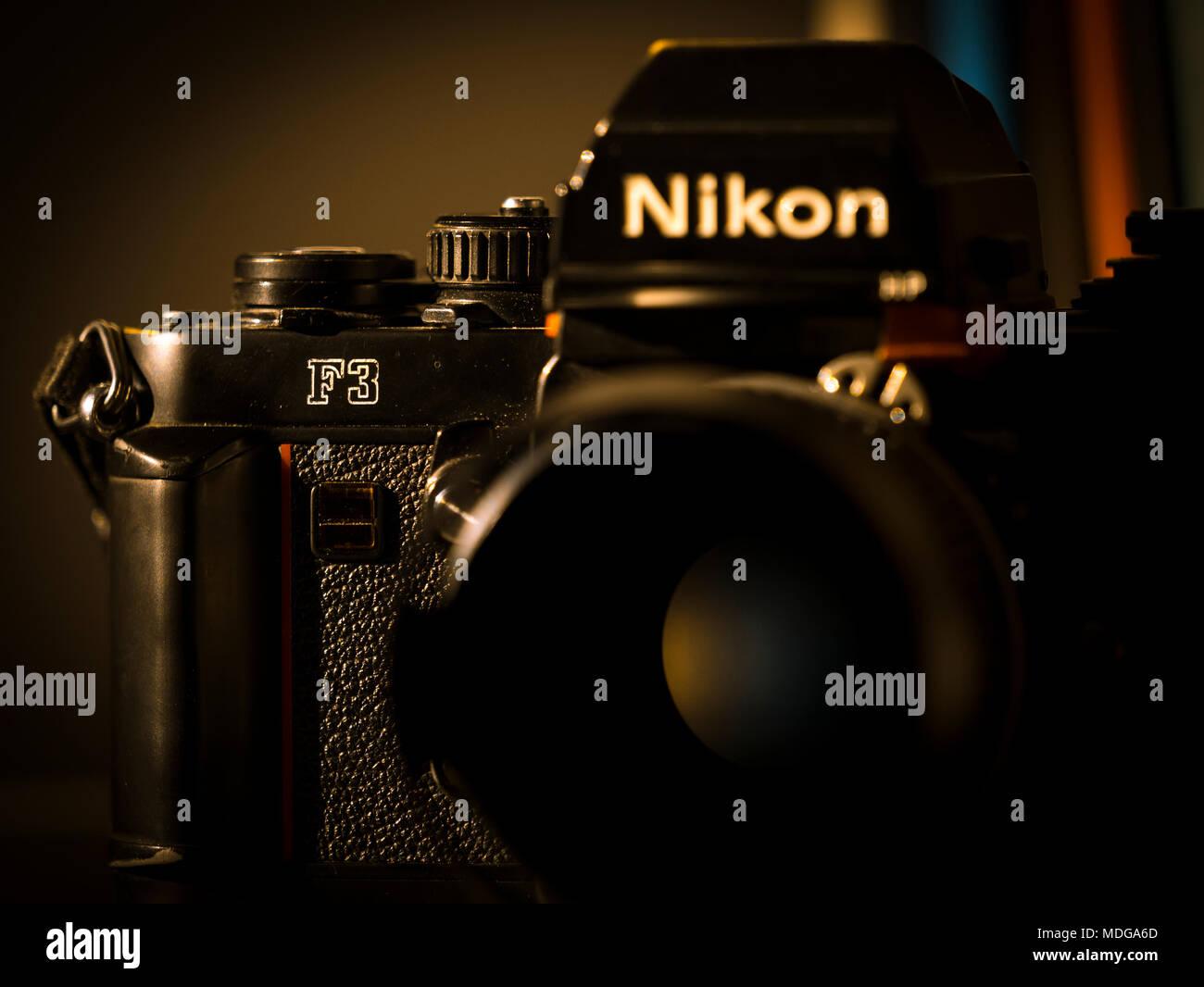 Nikon F3 single lens reflex 35mm professional film camera First launched in 1980 and remained in production until 2001. - Stock Image