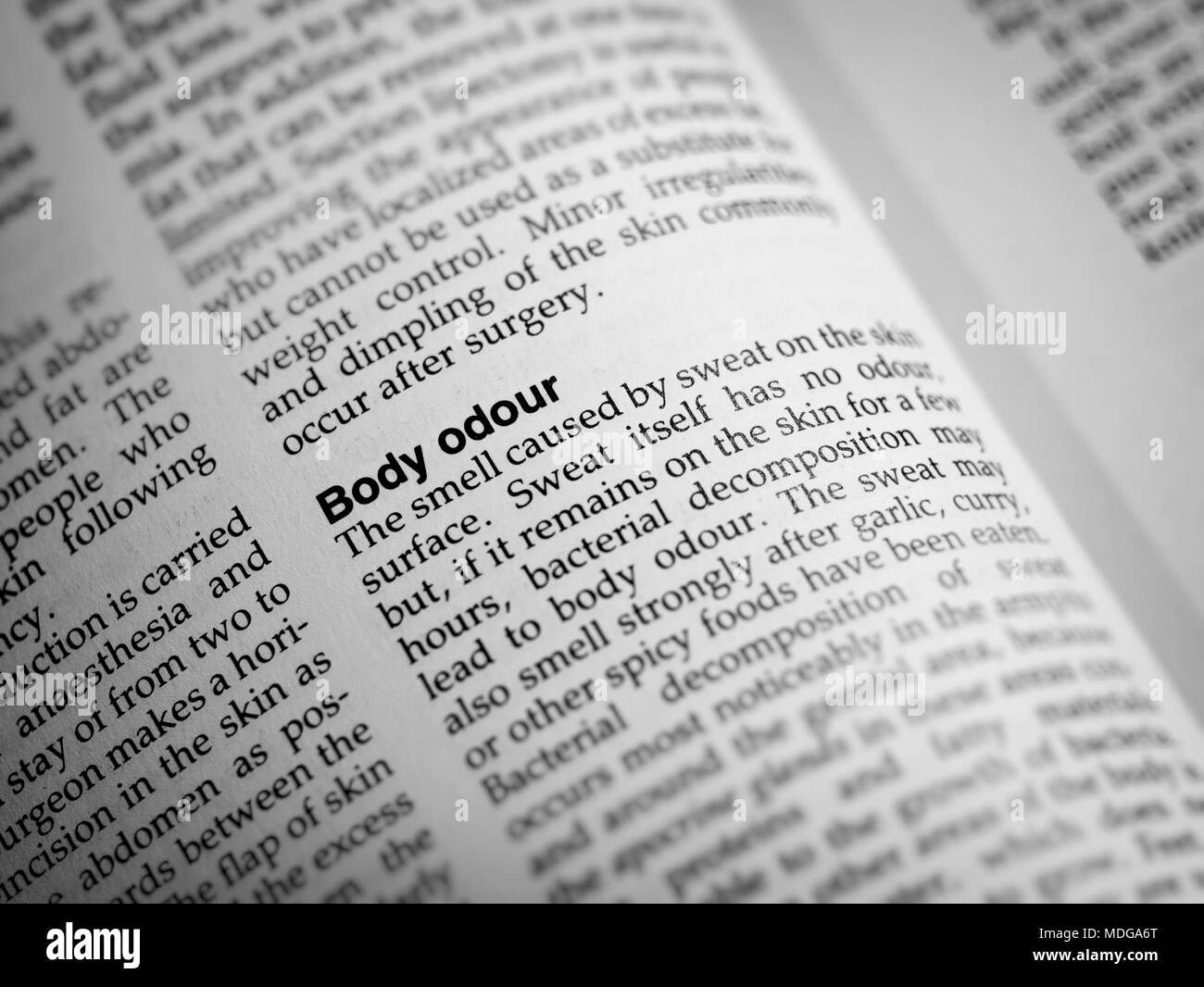 Definition of Body odour as found in the Complete Family Health Encyclopedia published by Dorling Kindersley. - Stock Image
