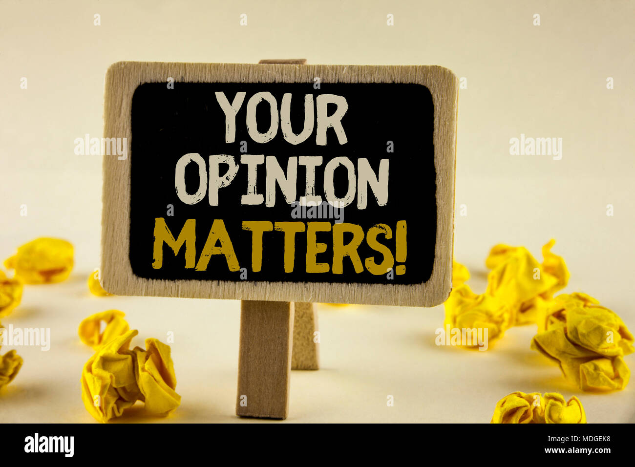 Handwriting text Your Opinion Matters Motivational Call  Concept