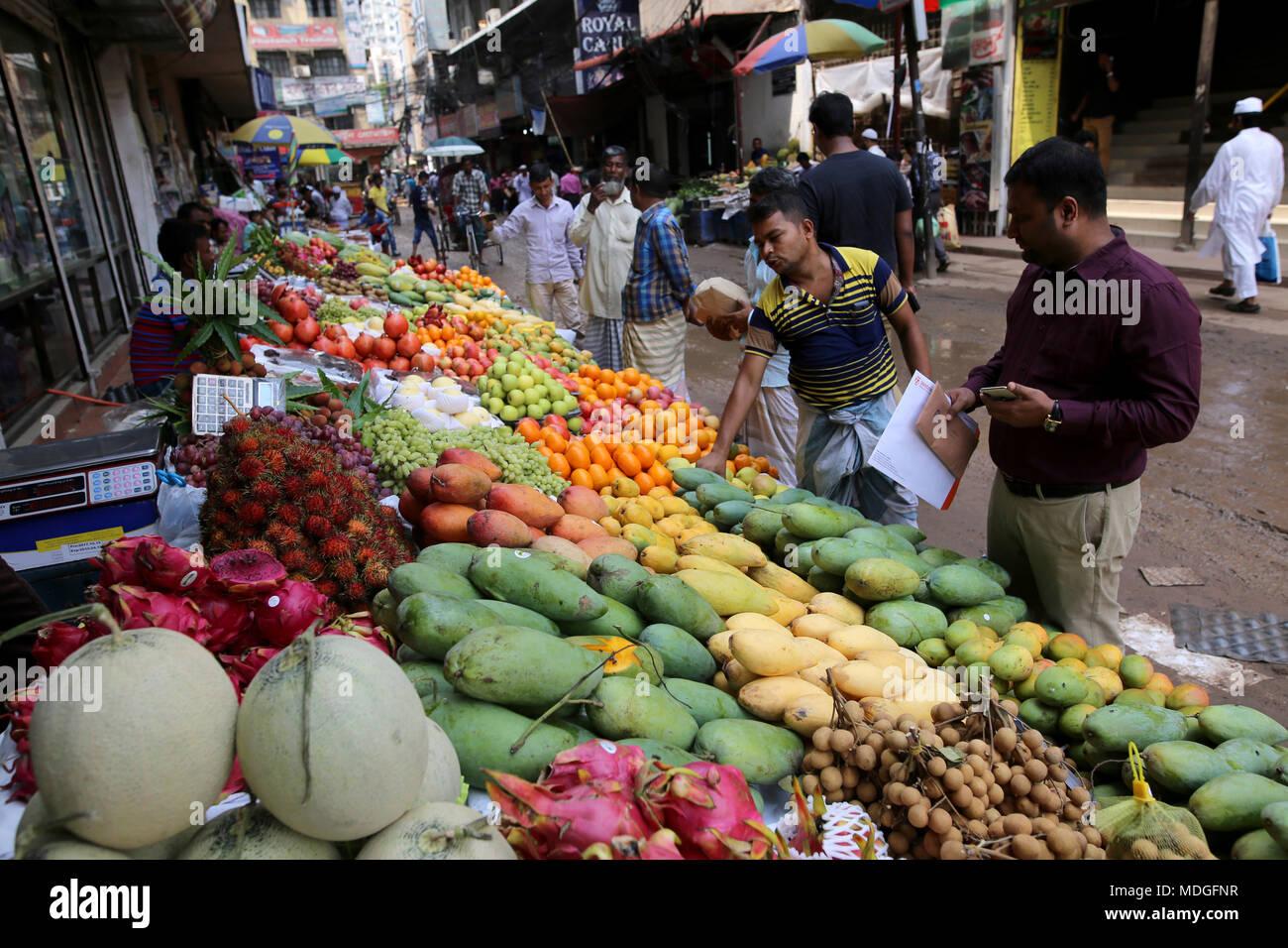 Dhaka, Bangladesh  Bangladeshi vendor sell fruits on a