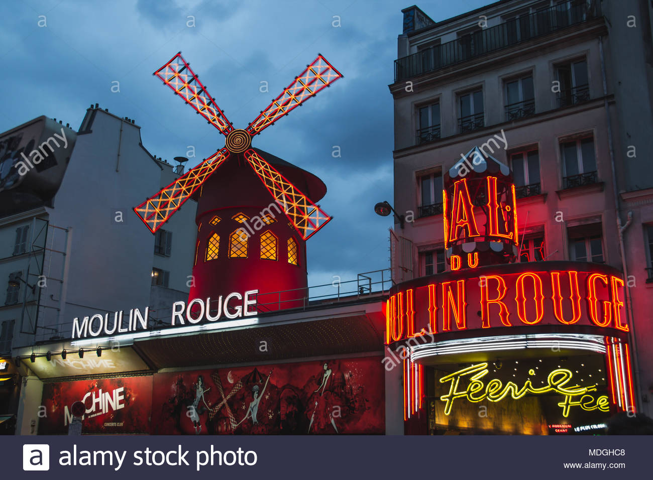 Moulin Rouge in Paris France at Blue Hour - Stock Image