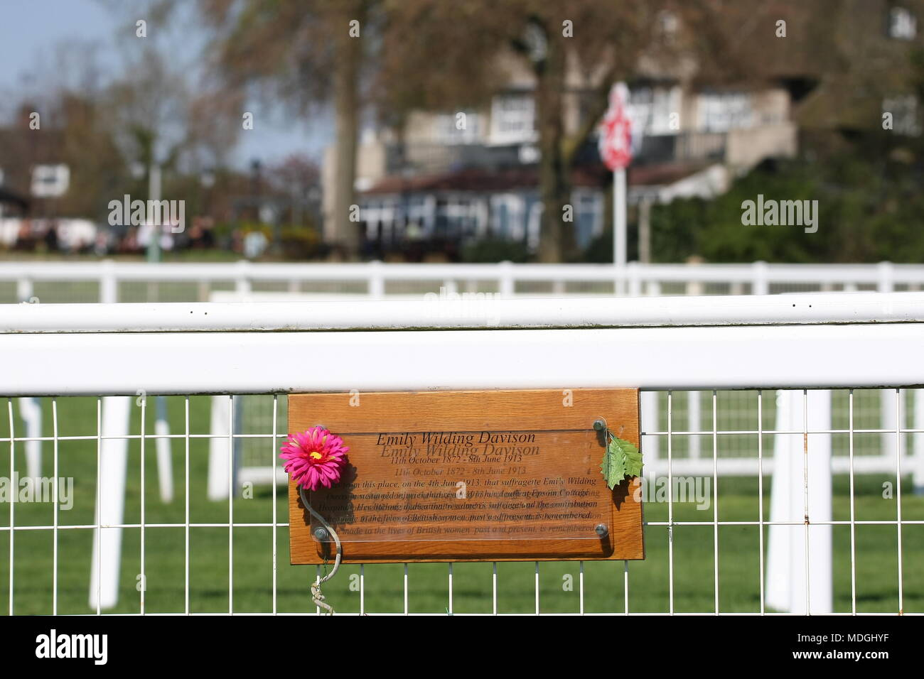 19th April, 2018 Epsom Downs, Surrey, UK  The memorial, on Tattenham Corner, to Emily Wilding Davison, the suffragette who ran in front of the Kings horse at the Derby in 1913, in the cause of womens right to vote in the UK's General Elections. - Stock Image
