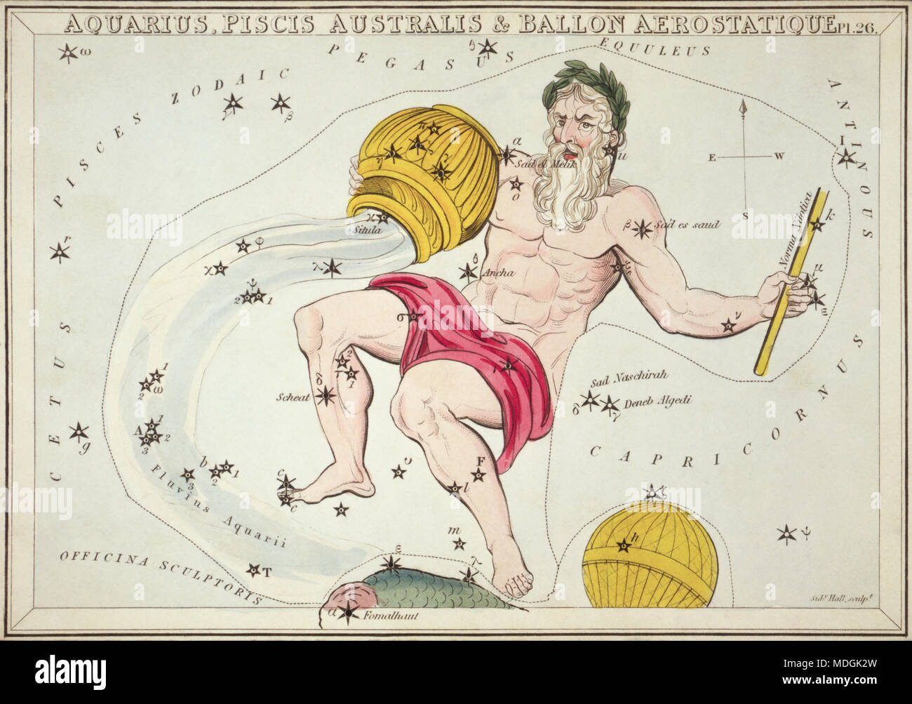 Aquarius, Piscis Australis & Ballon Aerostatique. Card Number 26 from Urania's Mirror, or A View of the Heavens, one of a set of 32 astronomical star chart cards engraved by Sidney Hall and publshed 1824. - Stock Image