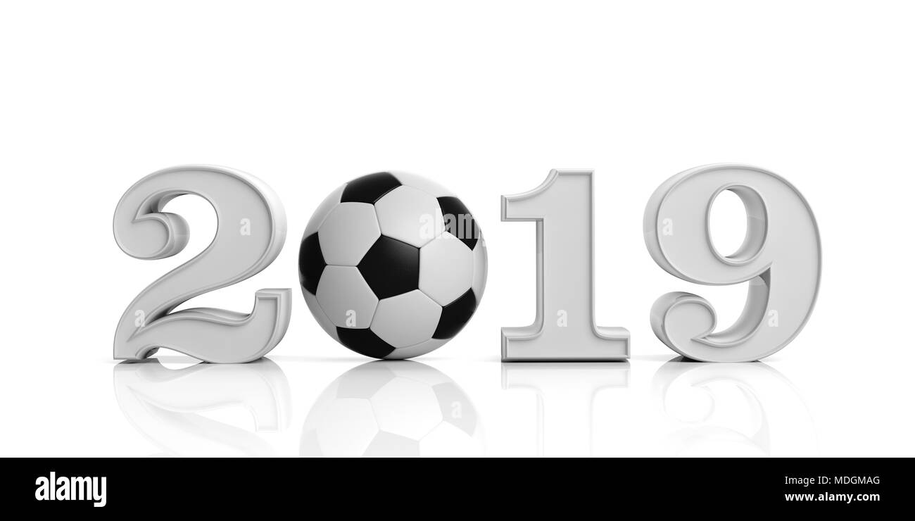Soccer Football And 2019 New Year 2019 With Soccer Ball Isolated