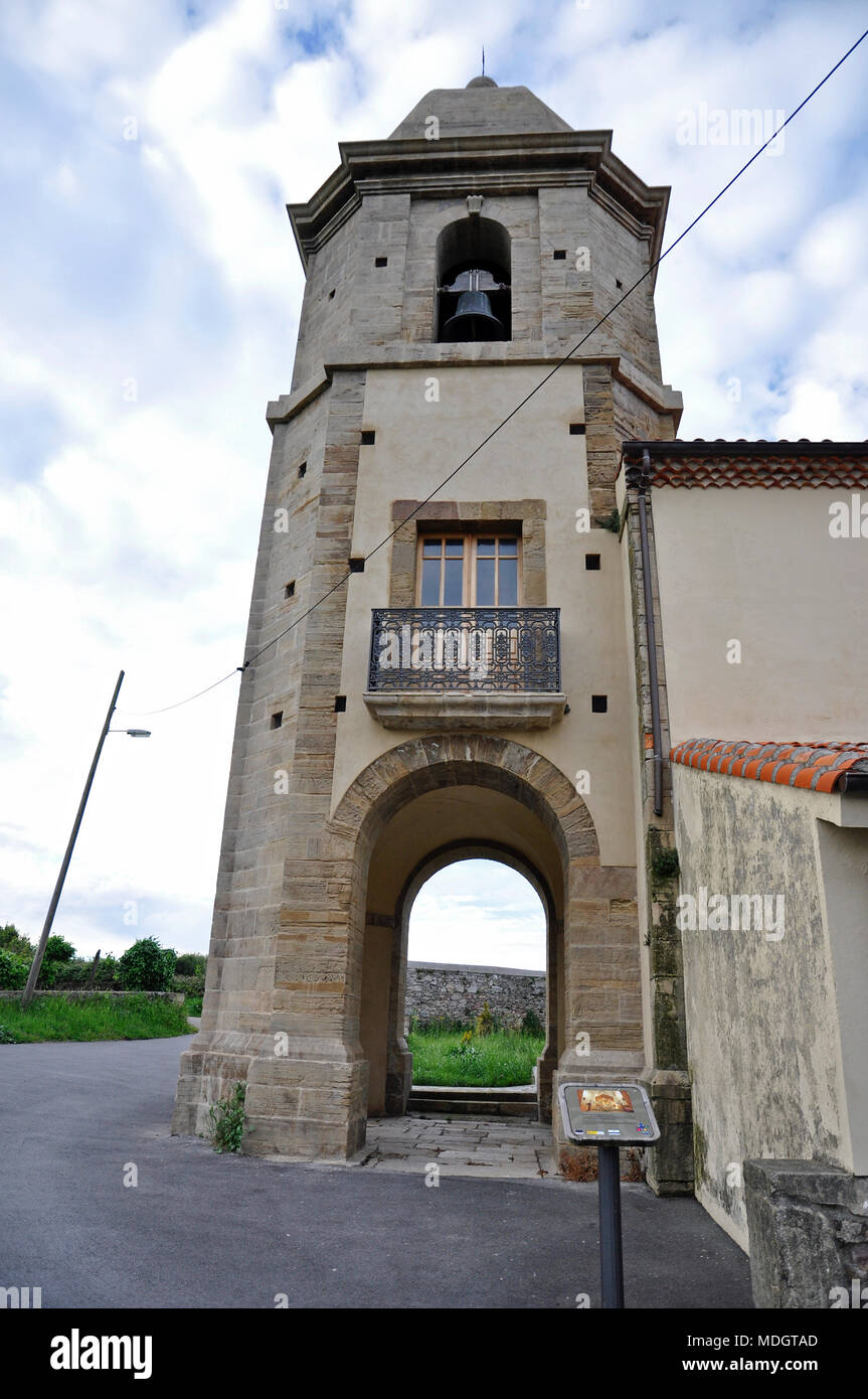 Tower of San Martín Church in San Martín de Laspra (Castrillón, Asturias, Spain) - Stock Image
