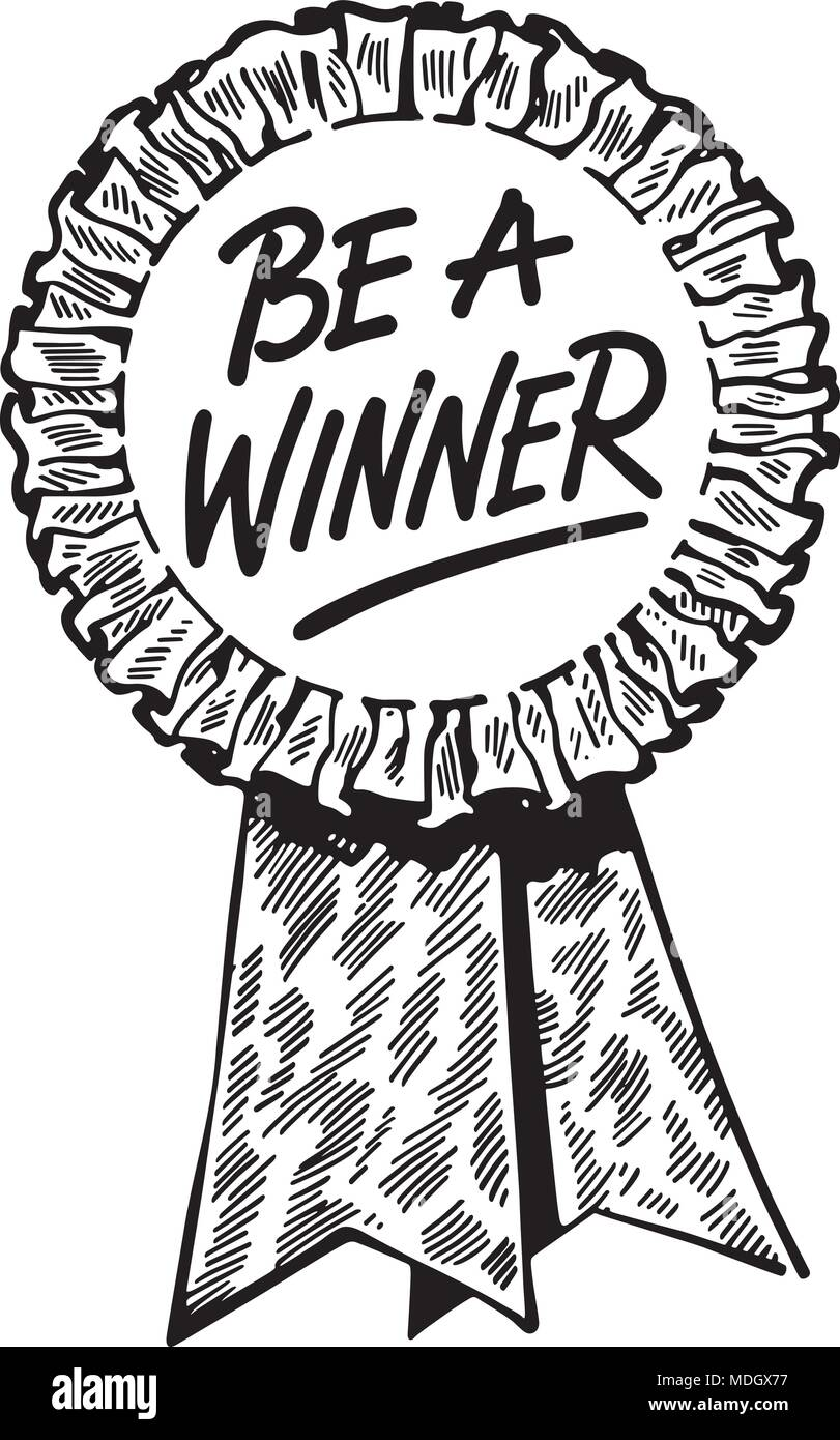 be a winner ribbon retro clipart illustration stock vector art