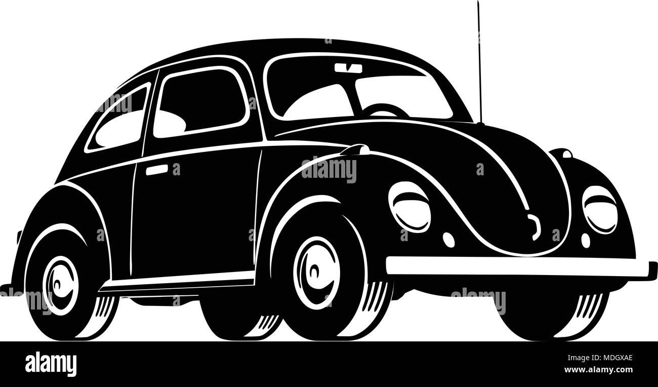 Beetle Car - Retro Clipart Illustration - Stock Vector
