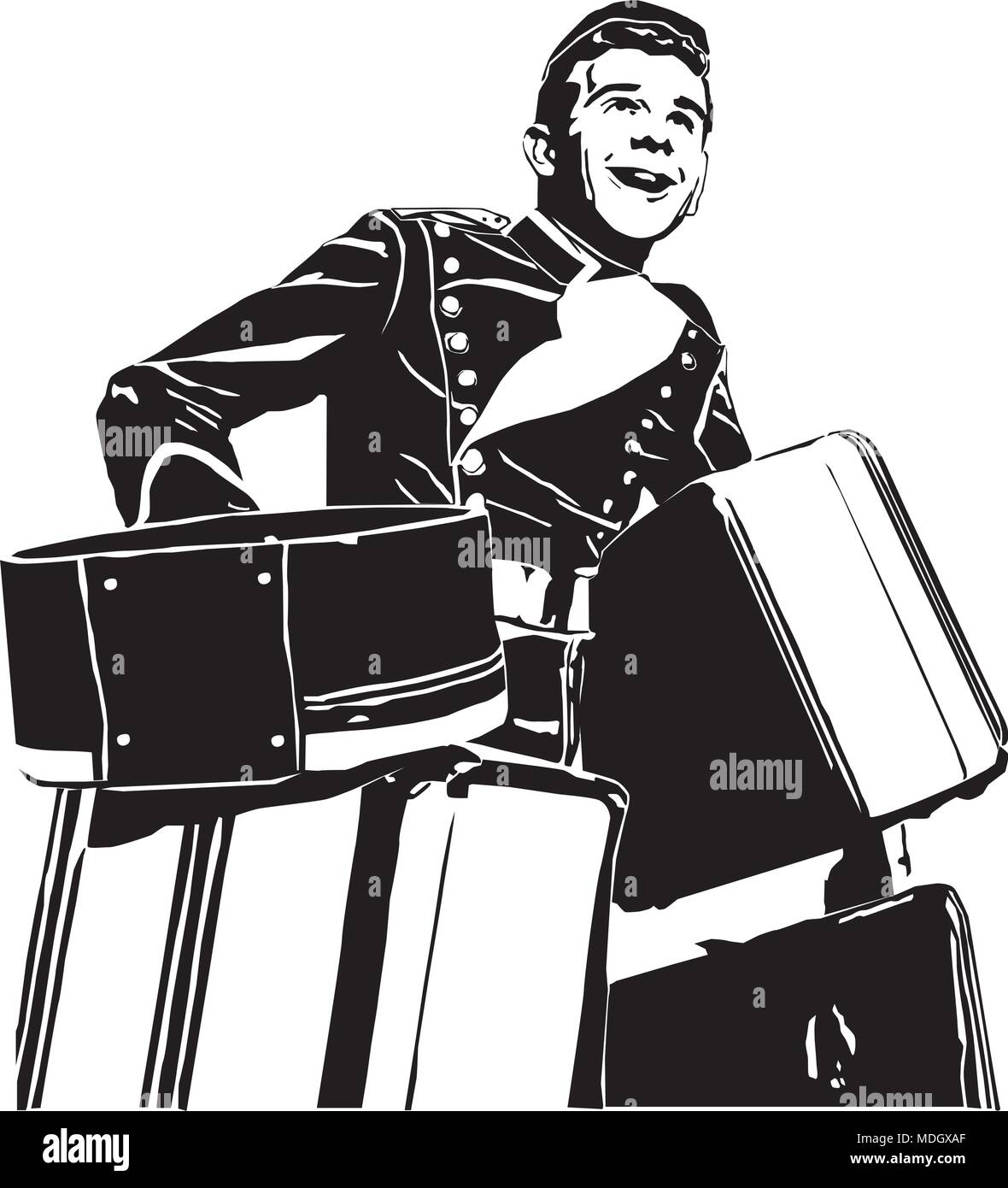 Bellhop - Retro Clipart Illustration - Stock Image