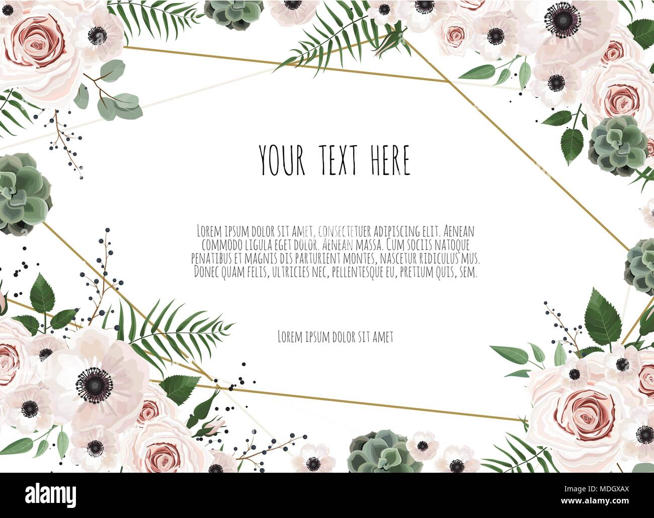 Wedding Invitation Card With Abstract Floral Background Stock