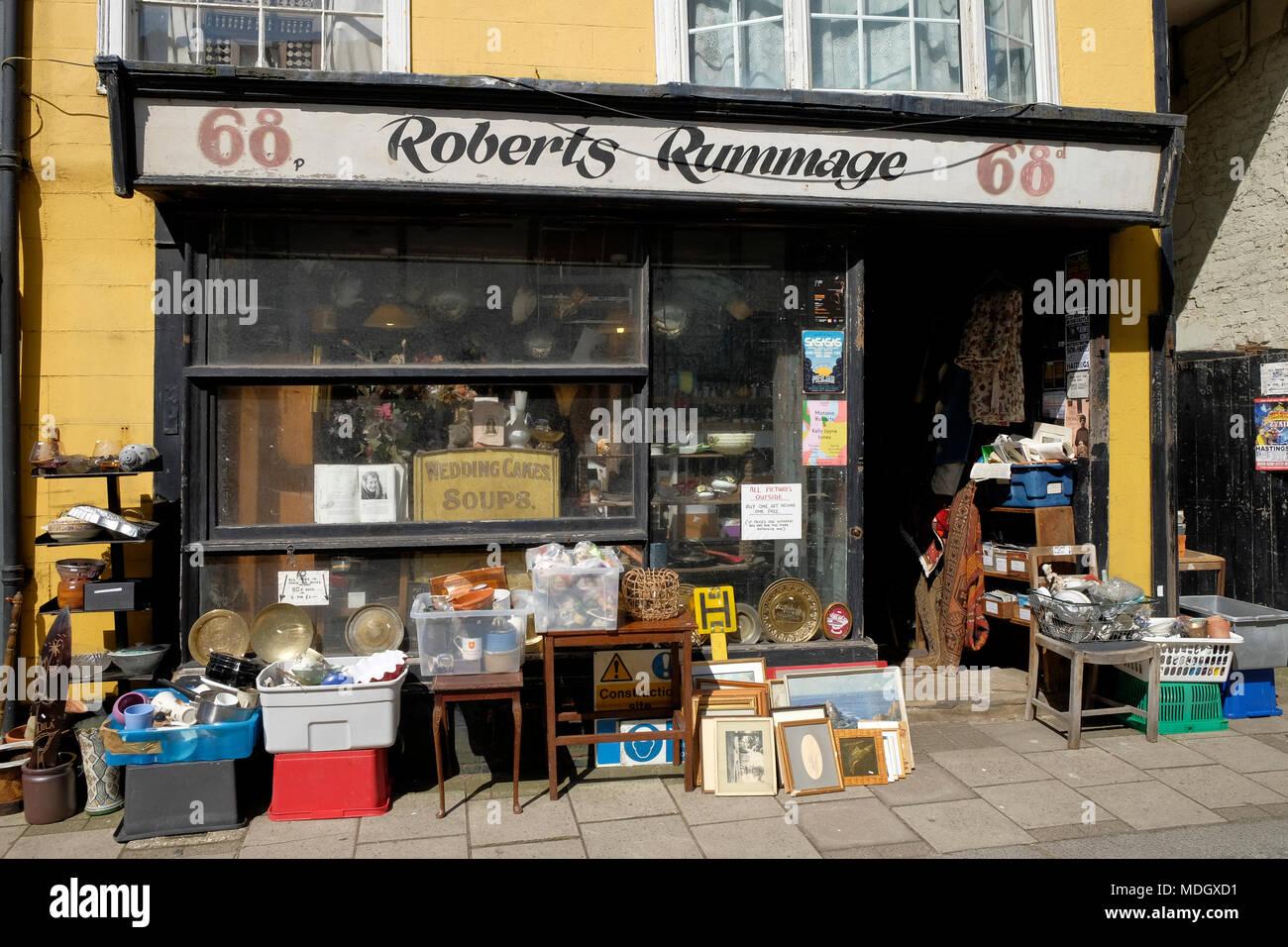 Roberts Rummage shop, Hastings, uk - Stock Image
