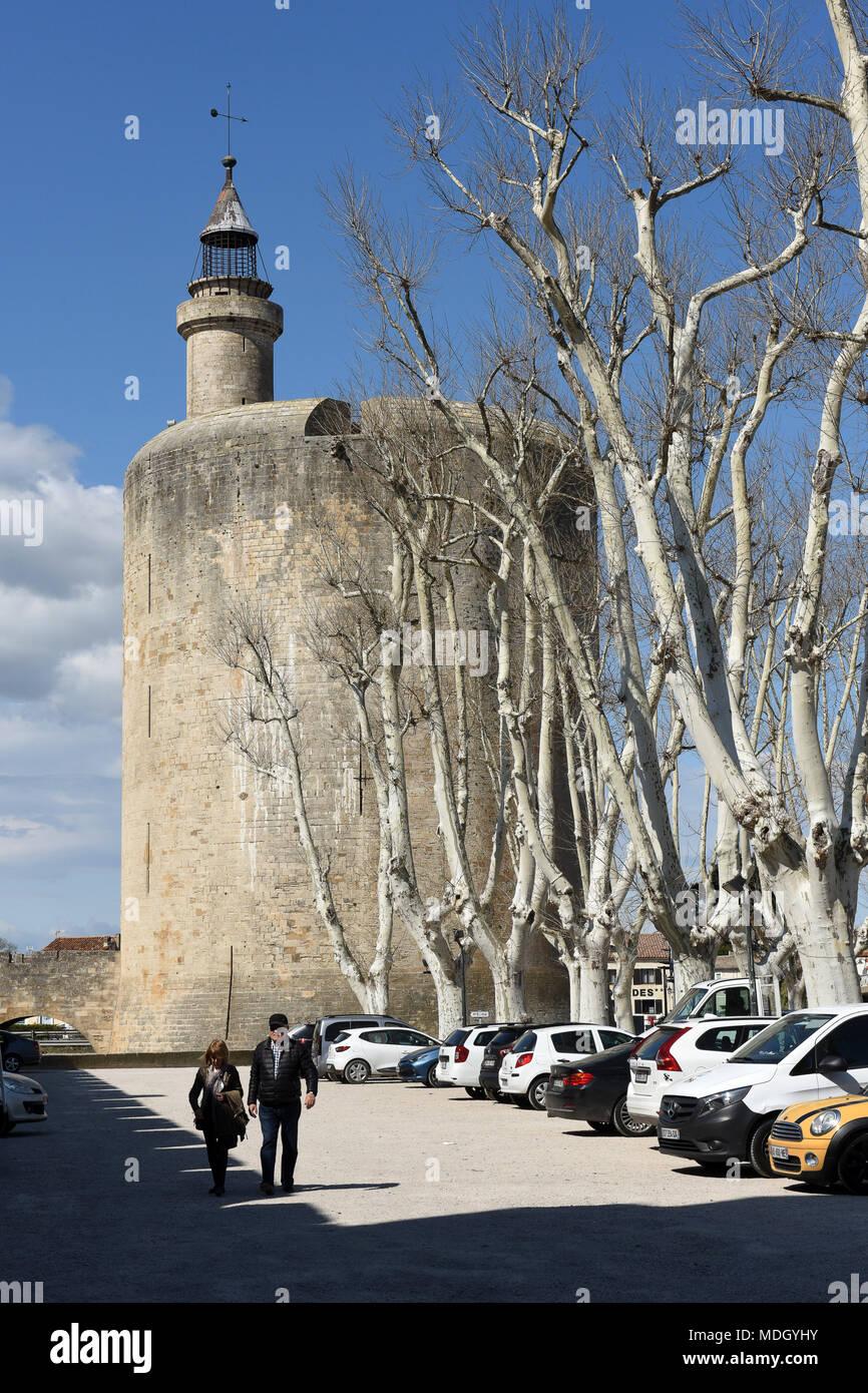 Aigues-Mortes, Les ramparts d'Aigues Mortes Camargue France - Stock Image