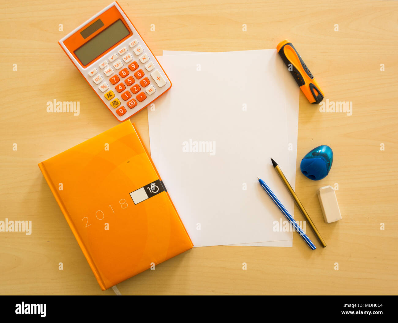 Superbe Creative, Fashionable, Minimalistic, School Or Office Workspace With  Supplies On Wooden Desk.
