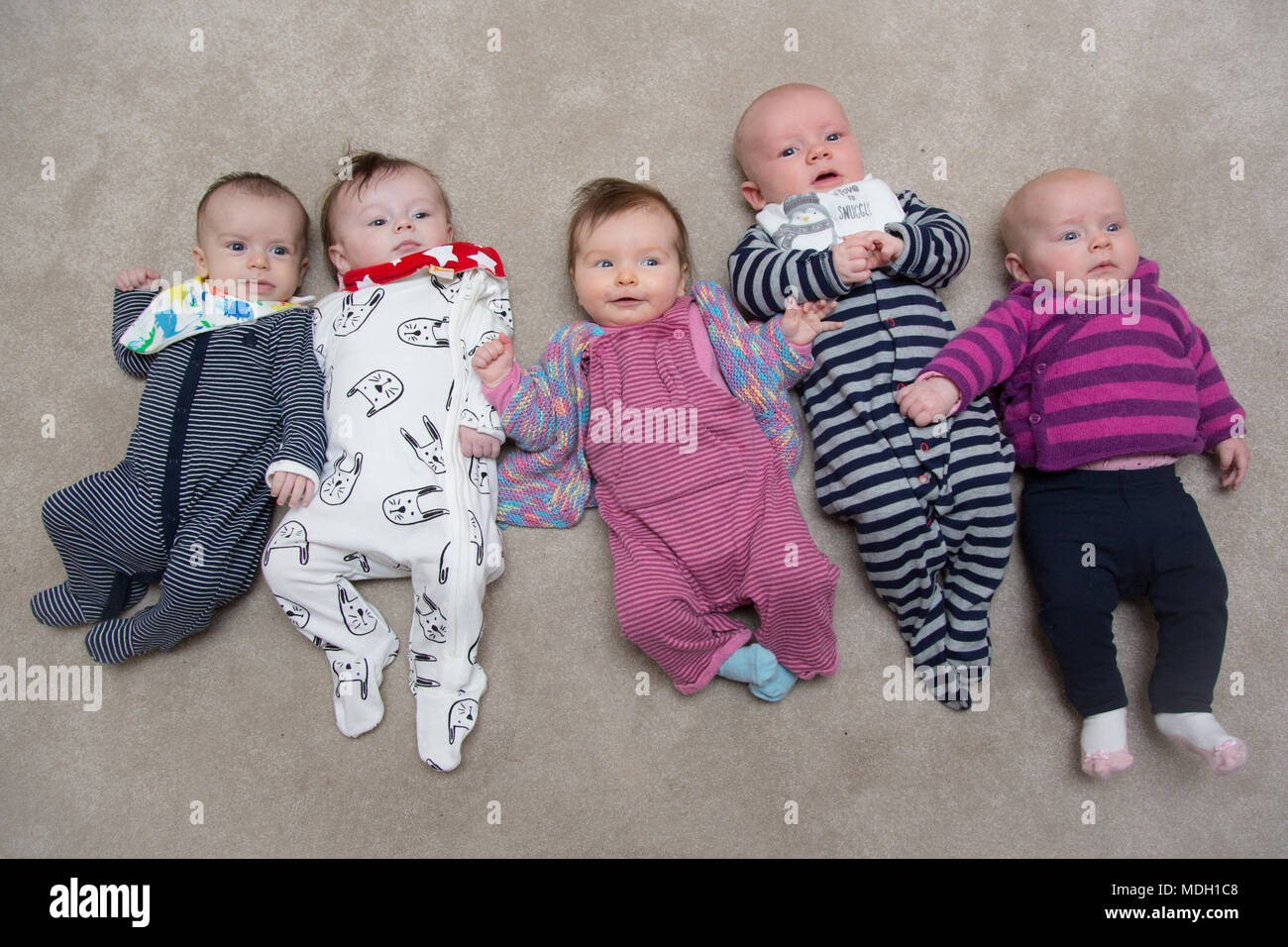 group of cute babies - Stock Image
