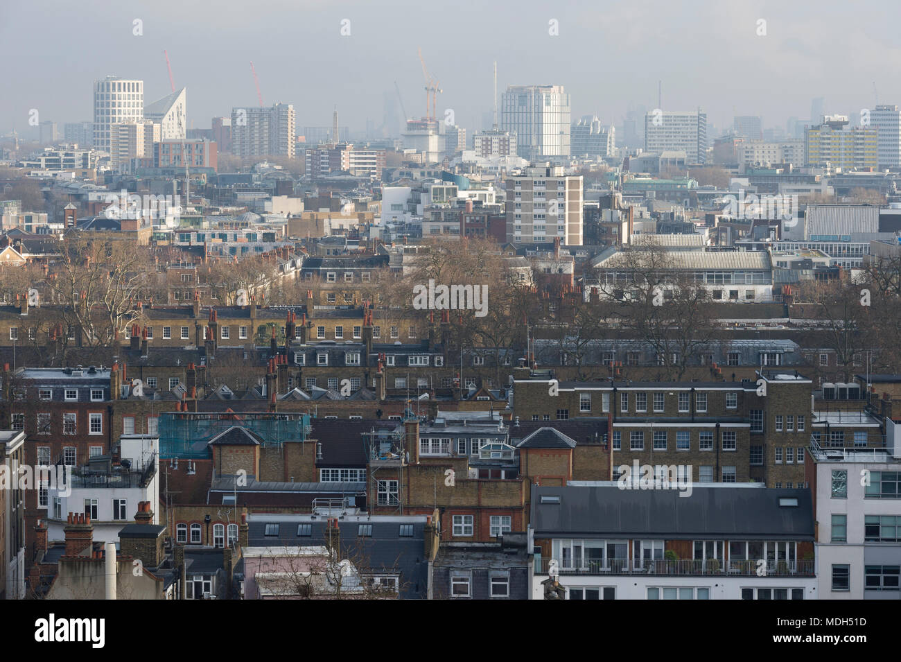 Central London, rooftops photographed from the roof of the old Central Saint Martins art college, Holborn, London, Britain. 8th January 2017 - Stock Image