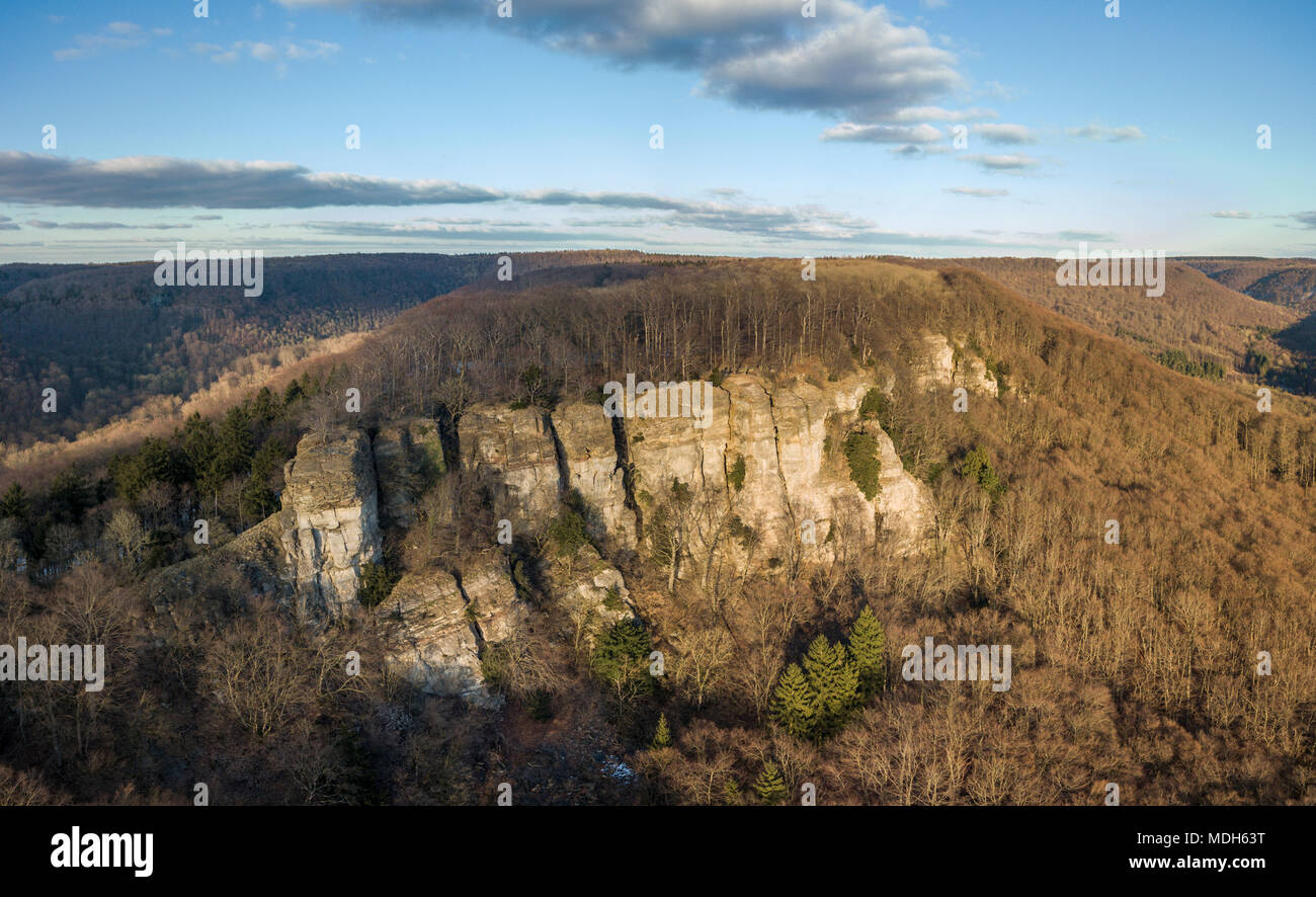 Aerial view of Hohenstein cliffs - one of the highlights in the hiking area of the western Weserbergland, Germany - Stock Image