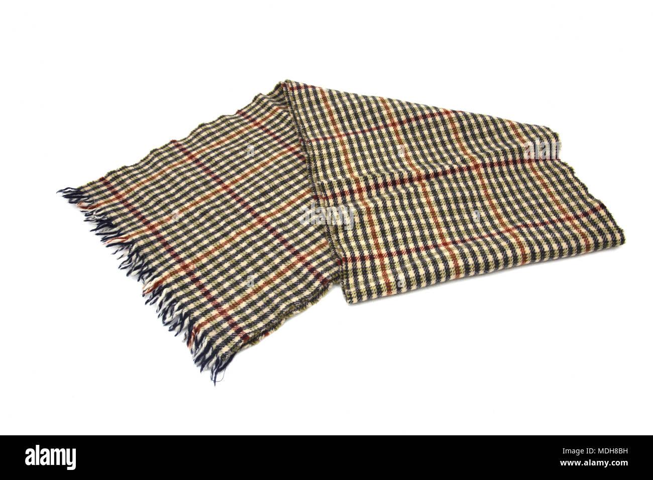 Beige, Brown and Black Wool Scarf - Stock Image