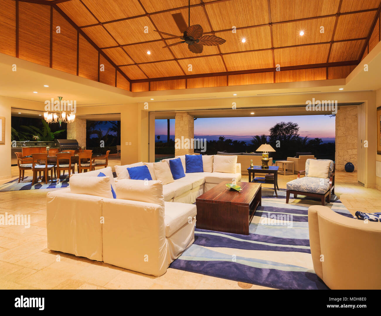Beautiful Living Room In Luxury Home Stock Photo