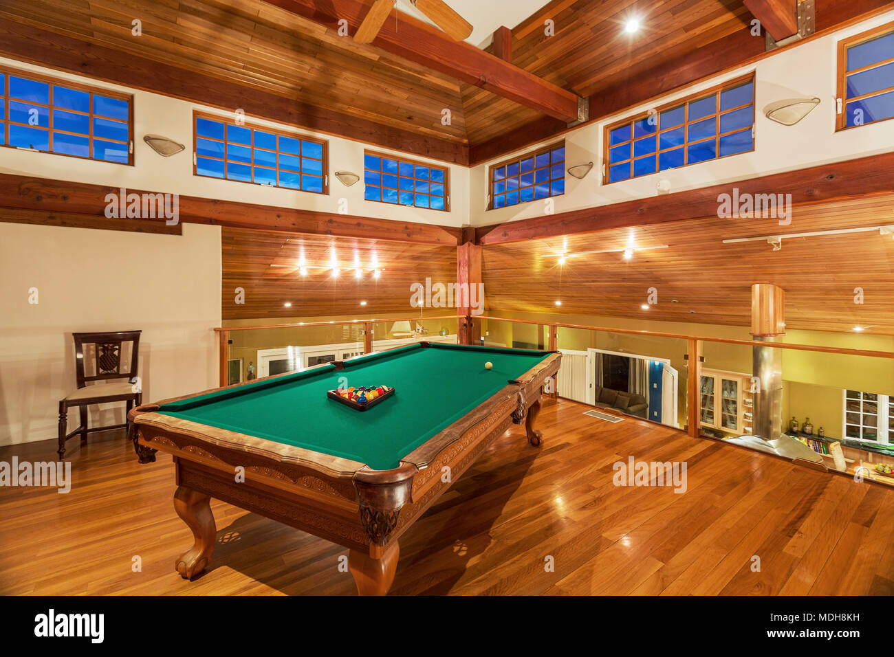 Pool Table In Luxury Home Stock Photo