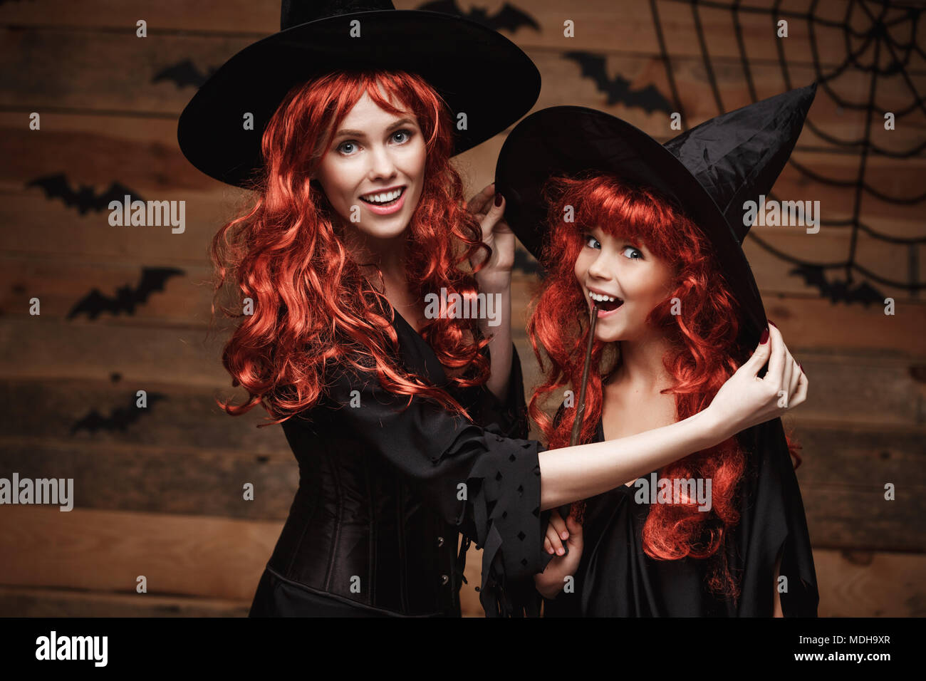 Halloween Concept - Beautiful caucasian mother dress up for her daughter in witch costumes and long  sc 1 st  Alamy & Happy Family Ready Halloween Stock Photos u0026 Happy Family Ready ...