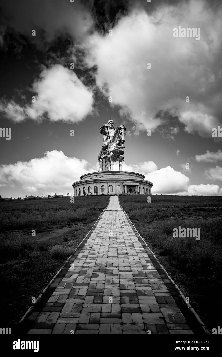 Statue of Chinggis (Genghis) Khan in the Mongolian countryside; Ulaanbaatar,Ulaanbaatar, Mongolia - Stock Image