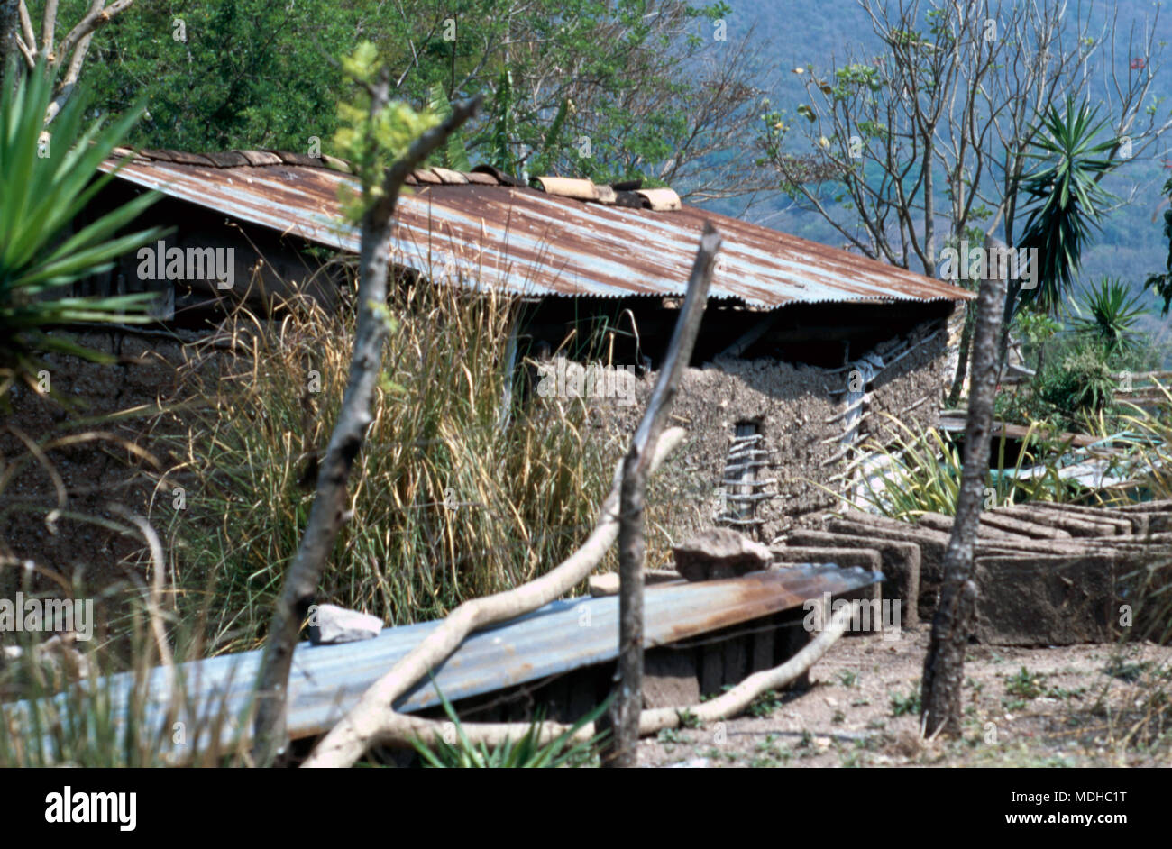 "A ""modern"" Chortí indigenous Mayan house in western Honduras. Stock Photo"