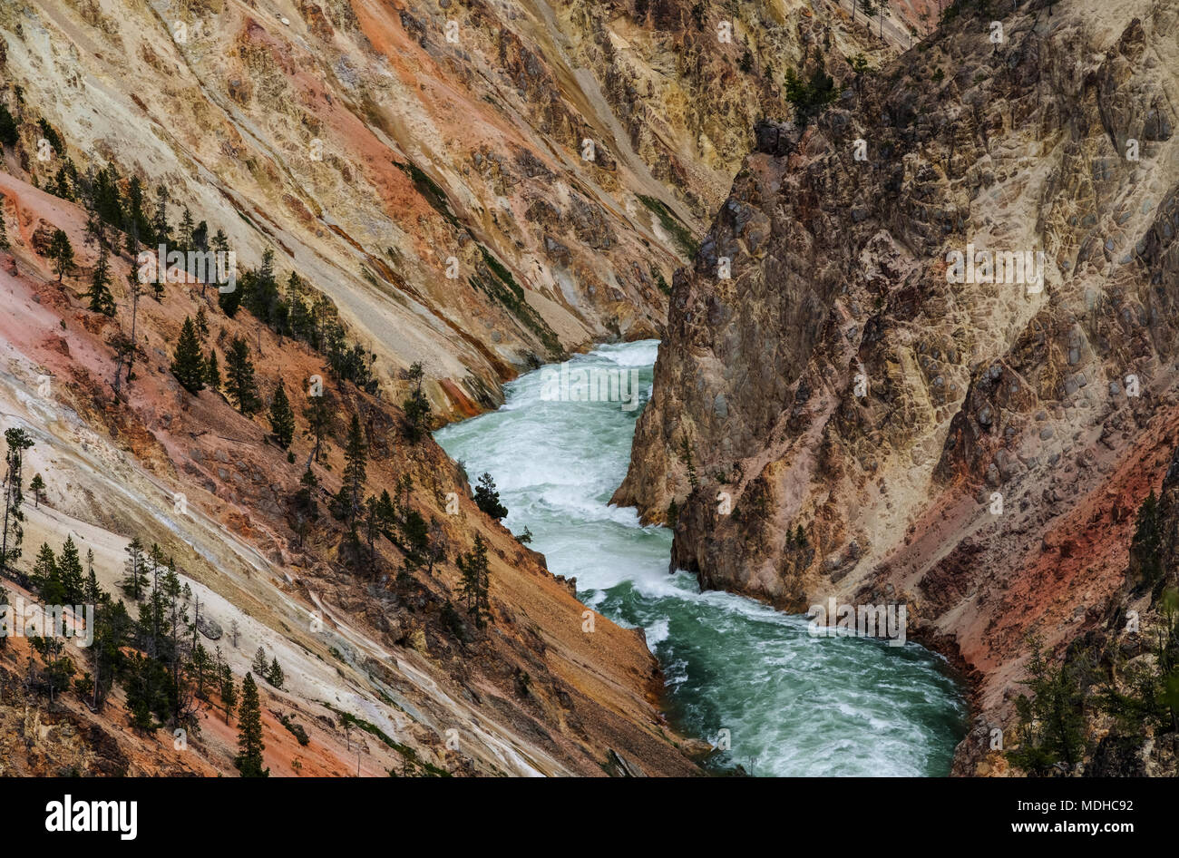 Yellowstone River flowing through the canyon, Yellowstone National Park; Wyoming, United States of America - Stock Image