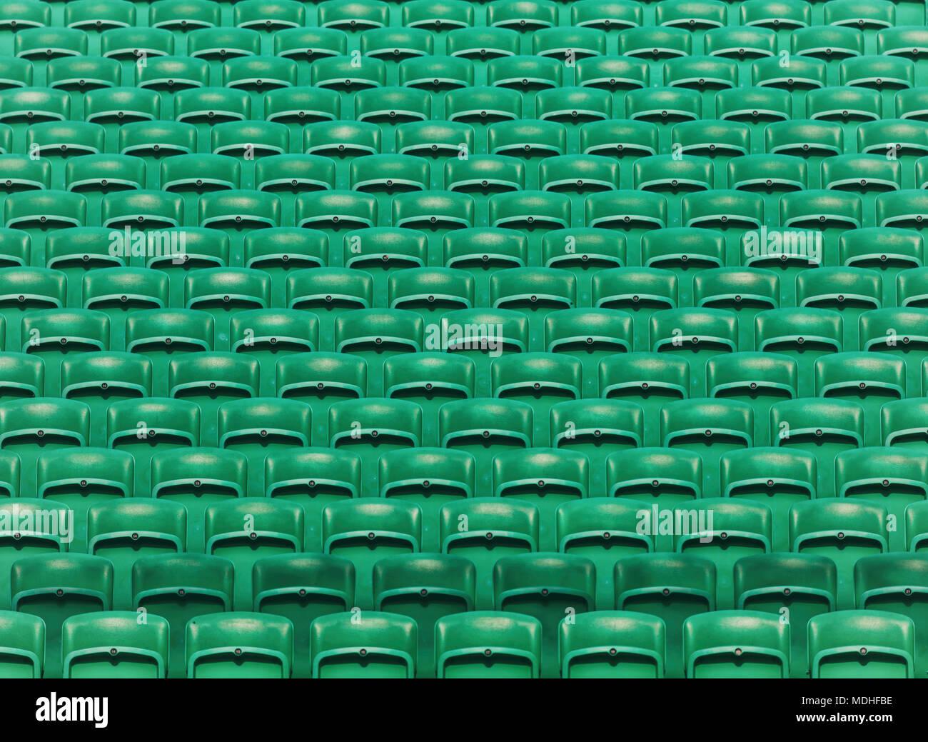 Rows Of Green Empty Folding Stadium Seats Background Stock