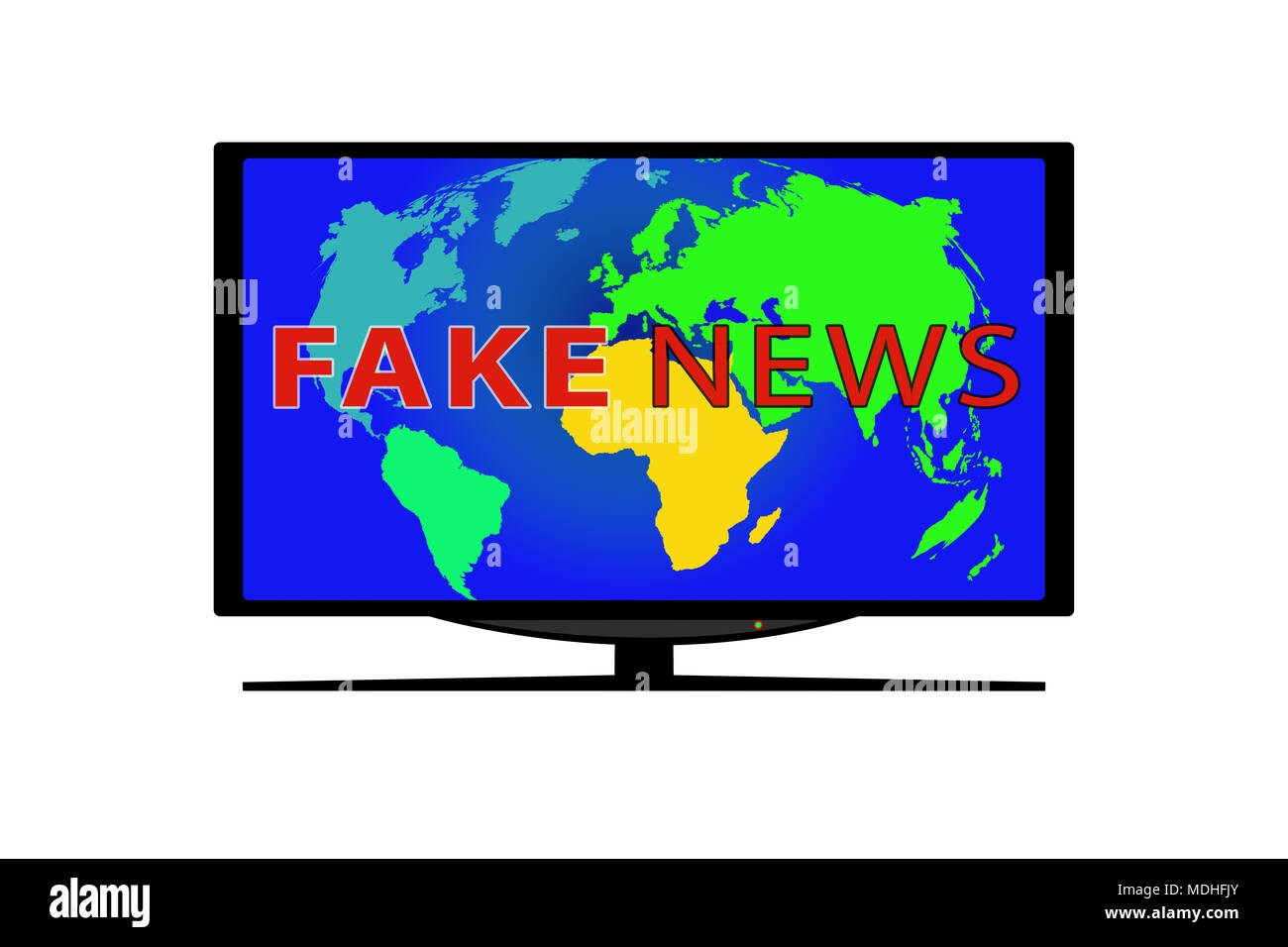 TV on white background. On the TV screen the world map and the words FAKE NEWS - Stock Image