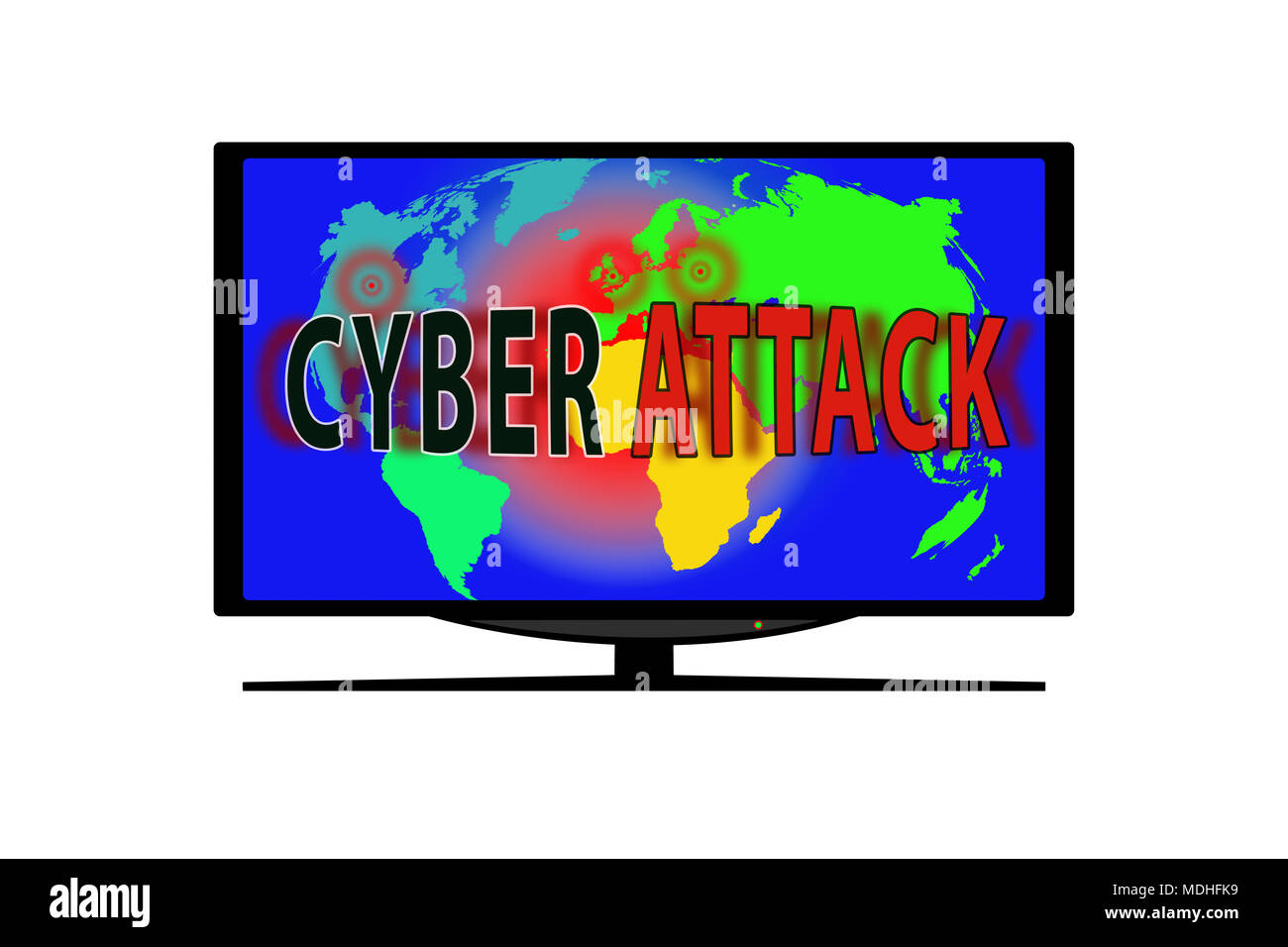 Monitor on white background. On the TV screen the world map and the words CYBER ATTACK - Stock Image