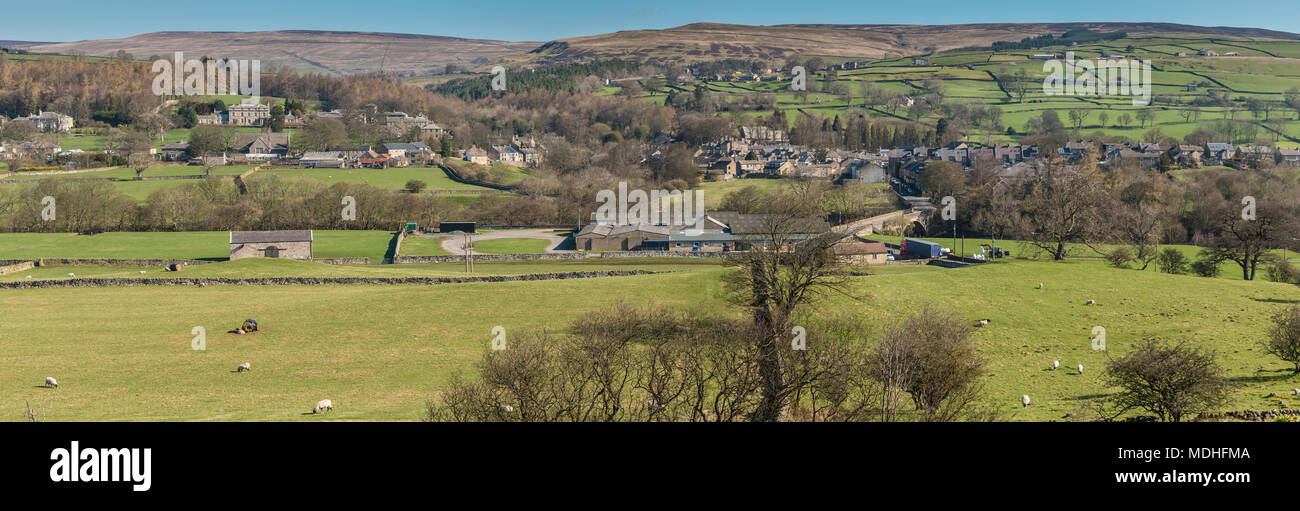 North Pennines landscape, panoramic view over the village of Middleton in Teesdale on a fine early spring morning - Stock Image