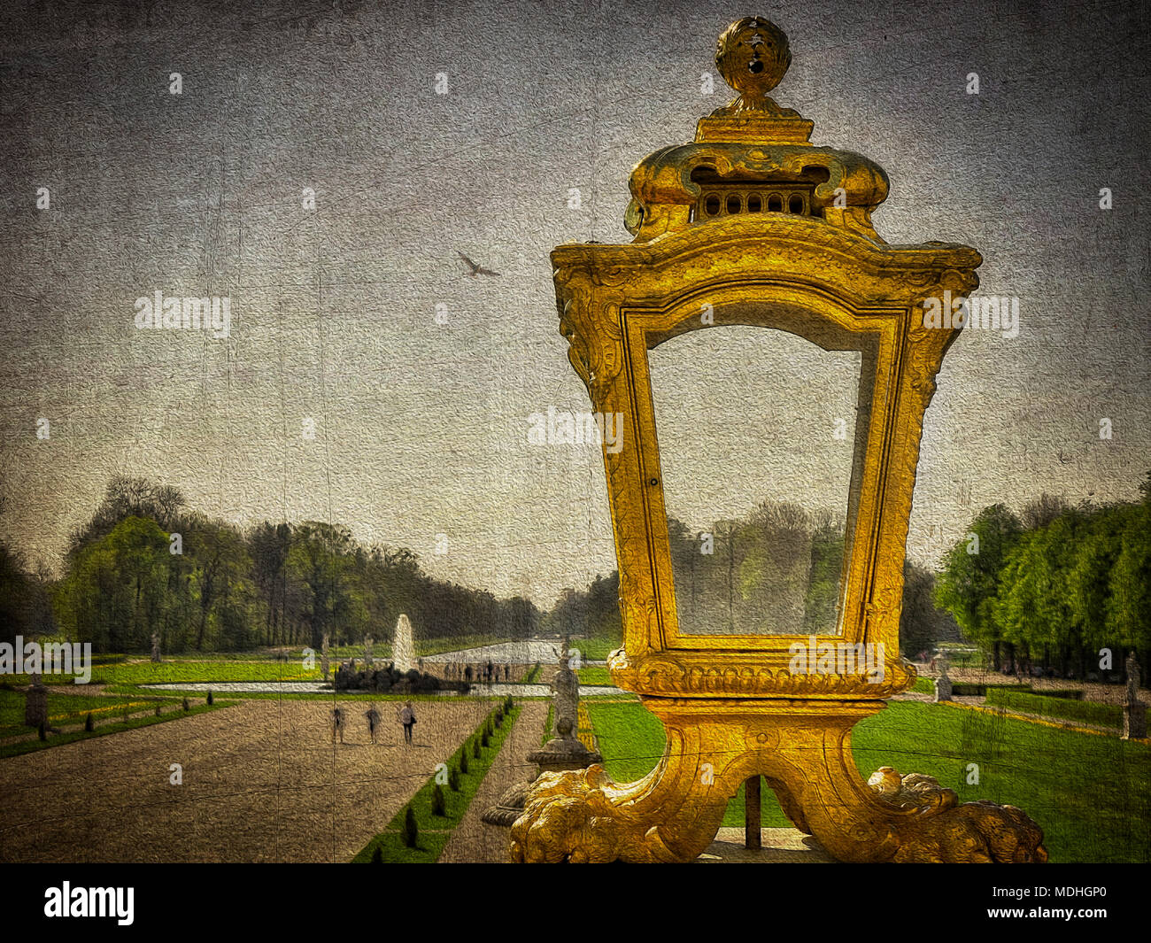 DIGITAL ART: Nymphenburg Castle Park, Munich, Germany - Stock Image
