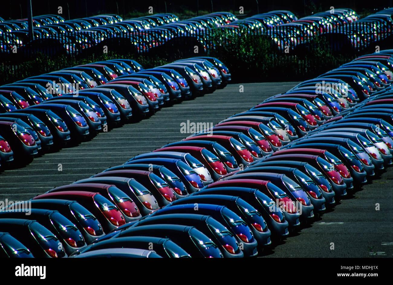 Car Storage, Southampton Docks, Southampton, Hampshire, England, UK, GB. - Stock Image