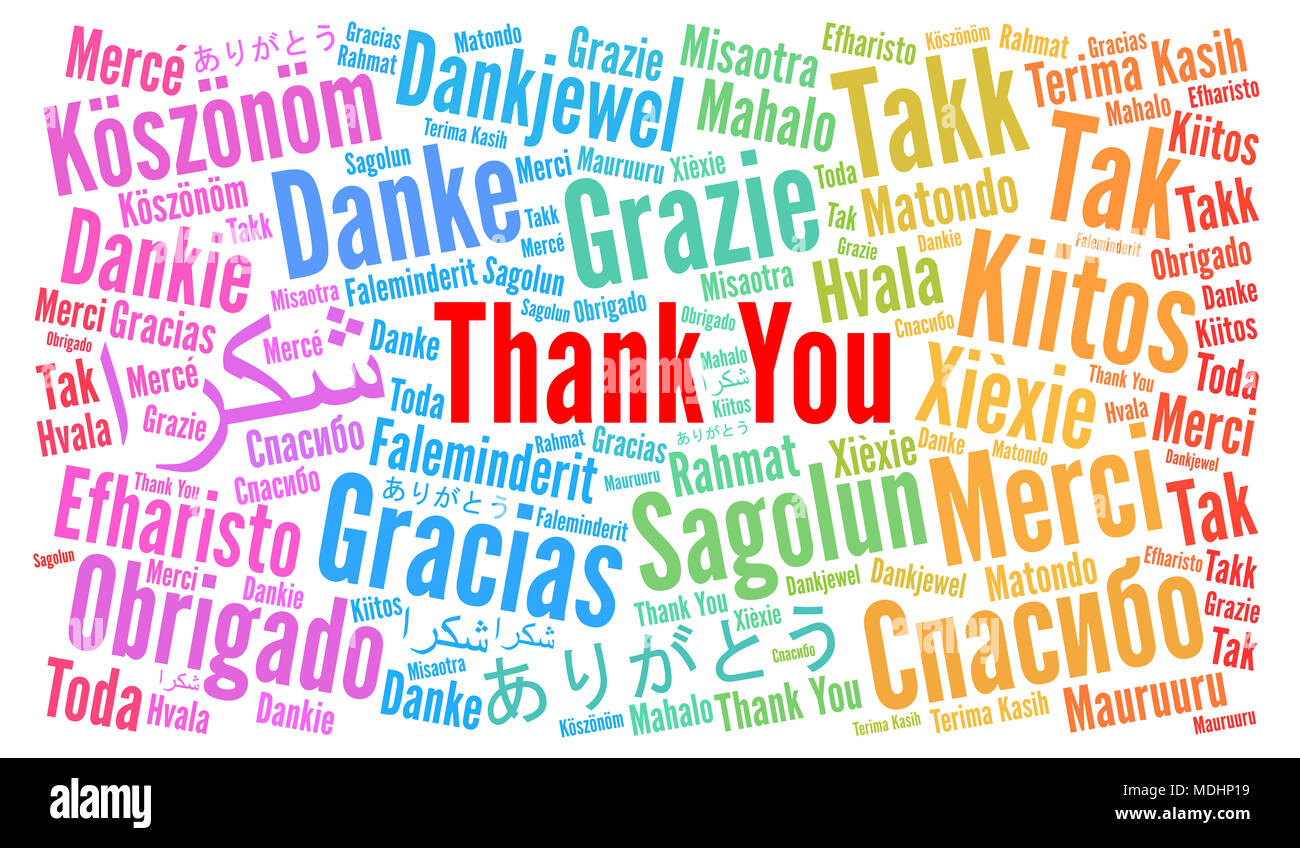 thank you illustration word cloud in different languages stock photo