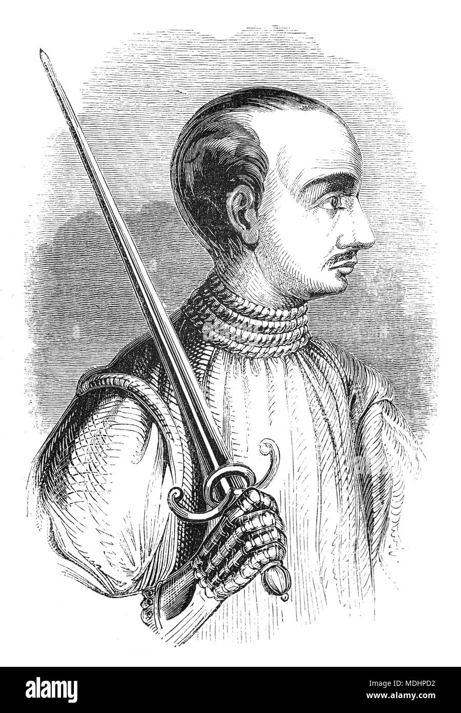 A portrait of Bertrand du Guesclin (1320 – 1380), nicknamed 'The Eagle of Brittany' or 'The Black Dog of Brocéliande', was a Breton knight and French military commander during the Hundred Years' War. He was Constable of France from 1370 to his death. Well known for his Fabian strategy, he took part in six pitched battles and won the four in which he held command. - Stock Image