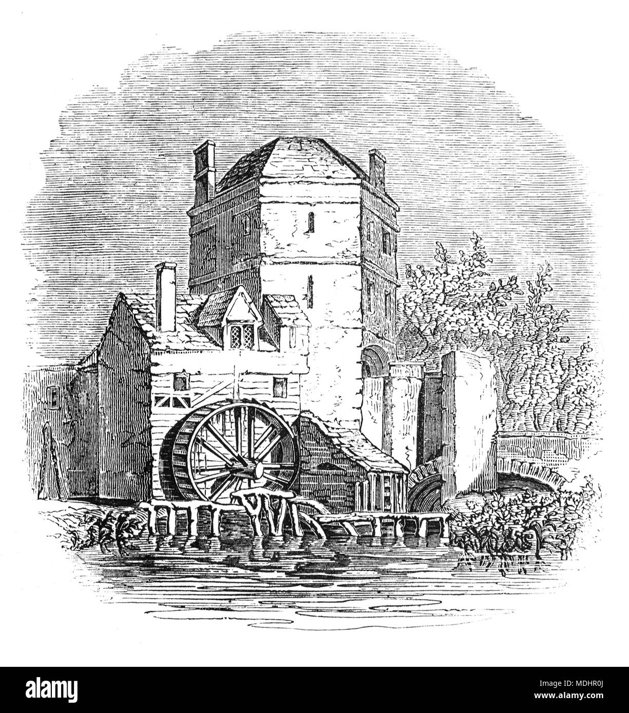 The Tower at the side of the Folly Bridge over the River Thames, Oxford, Oxfordshire, England, in which the 13th century  alchemist Roger Bacon is said to have lived and worked. 'Friar Bacon's Study' stood across the north end of the bridge until 1779, when it was removed to widen the road. - Stock Image