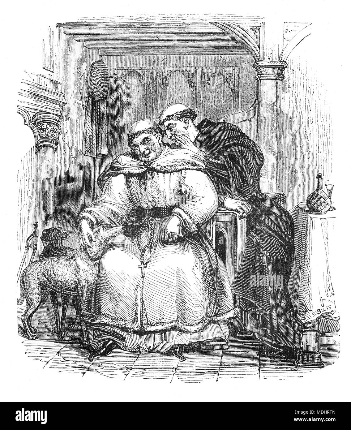 Two of the characters from The Canterbury Tales, a collection of 24 stories written  by Geoffrey Chaucer between 1387 and 1400 when he became Controller of Customs and Justice of Peace.  The tales (mostly written in verse, although some are in prose) are presented as part of a story-telling contest by a group of pilgrims as they travel together on a journey from London to Canterbury to visit the shrine of Saint Thomas Becket at Canterbury Cathedral. The illustration shows the Monk and the Friar. - Stock Image