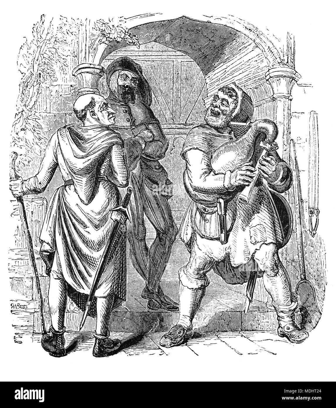 Two of the characters from The Canterbury Tales, a collection of 24 stories written  by Geoffrey Chaucer between 1387 and 1400 when he became Controller of Customs and Justice of Peace.  The tales (mostly written in verse, although some are in prose) are presented as part of a story-telling contest by a group of pilgrims as they travel together on a journey from London to Canterbury to visit the shrine of Saint Thomas Becket at Canterbury Cathedral. The illustration shows the Miller, Manciple and Reve. - Stock Image
