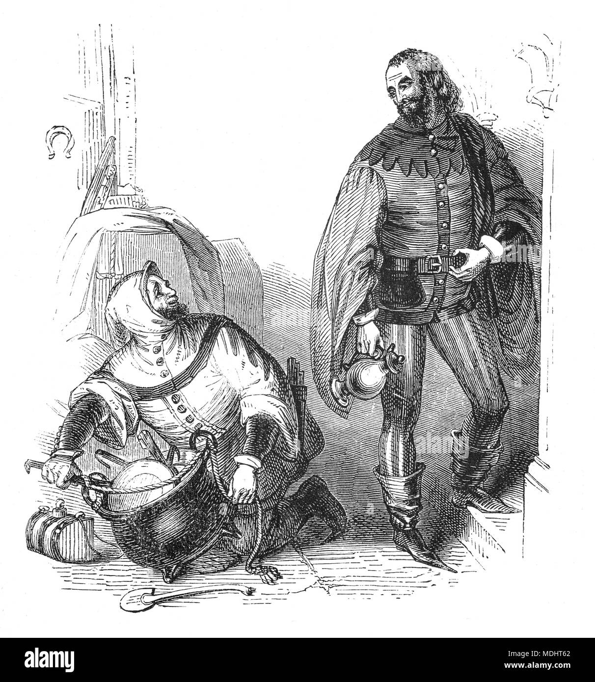 Two of the characters from The Canterbury Tales, a collection of 24 stories written  by Geoffrey Chaucer between 1387 and 1400 when he became Controller of Customs and Justice of Peace.  The tales (mostly written in verse, although some are in prose) are presented as part of a story-telling contest by a group of pilgrims as they travel together on a journey from London to Canterbury to visit the shrine of Saint Thomas Becket at Canterbury Cathedral. The illustration shows the Host and the Cook. - Stock Image