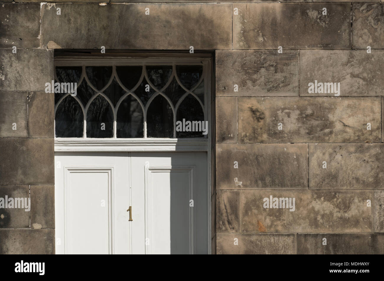Architectural detail of regency period townhouses in Marshall Place, Perth, Scotland, UK. - Stock Image