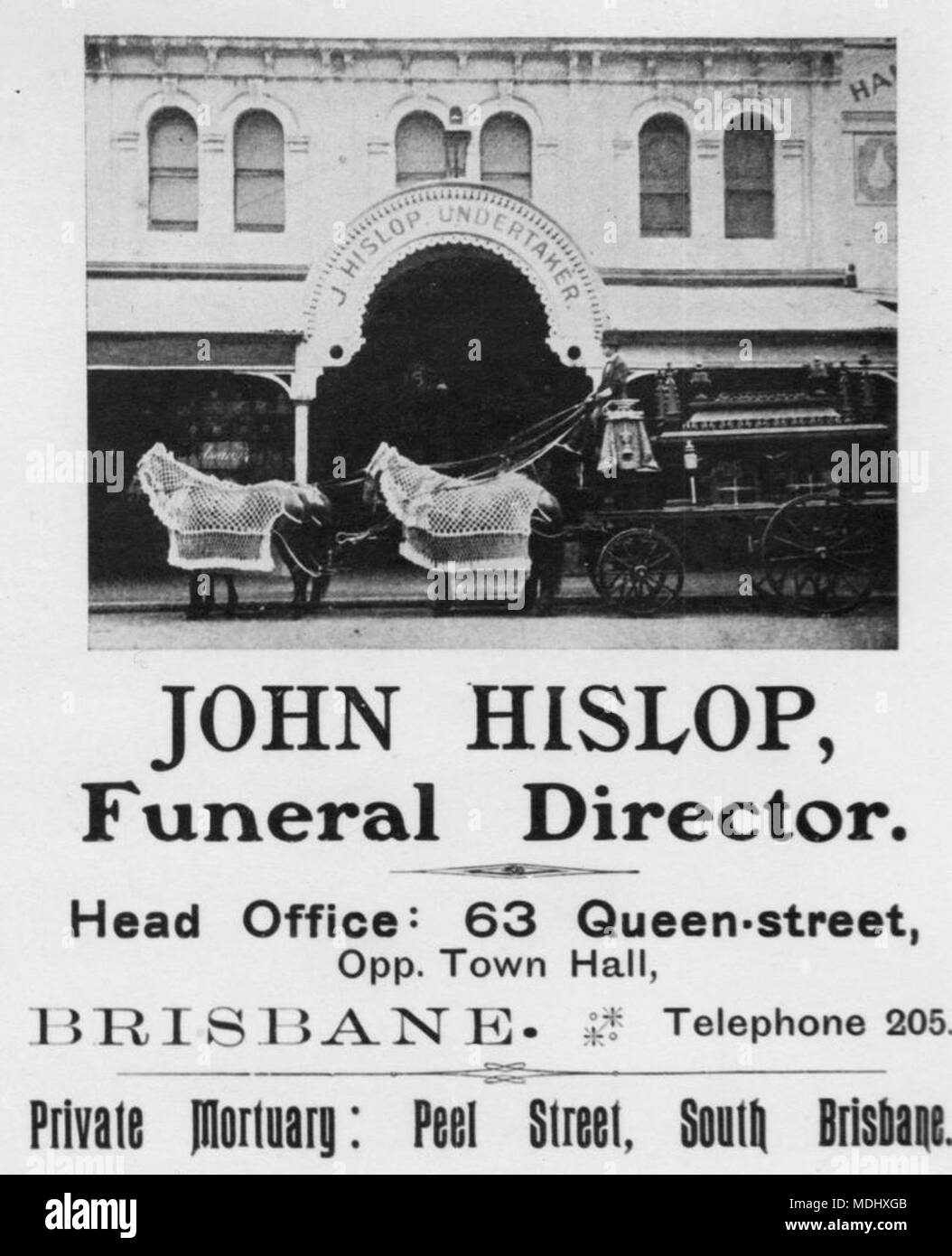 Advertisement for John Hislops undertaking business featuing the premises and - Stock Image